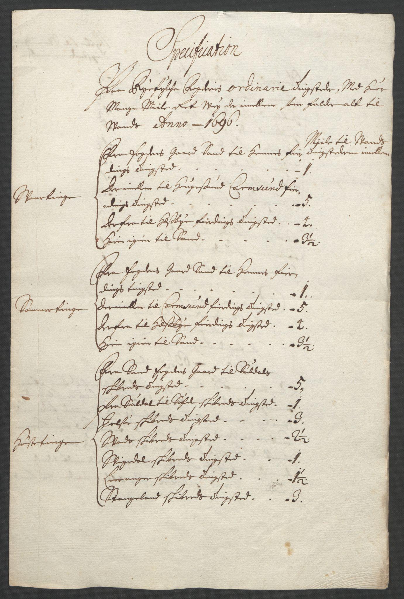 RA, Rentekammeret inntil 1814, Reviderte regnskaper, Fogderegnskap, R47/L2857: Fogderegnskap Ryfylke, 1694-1696, s. 309