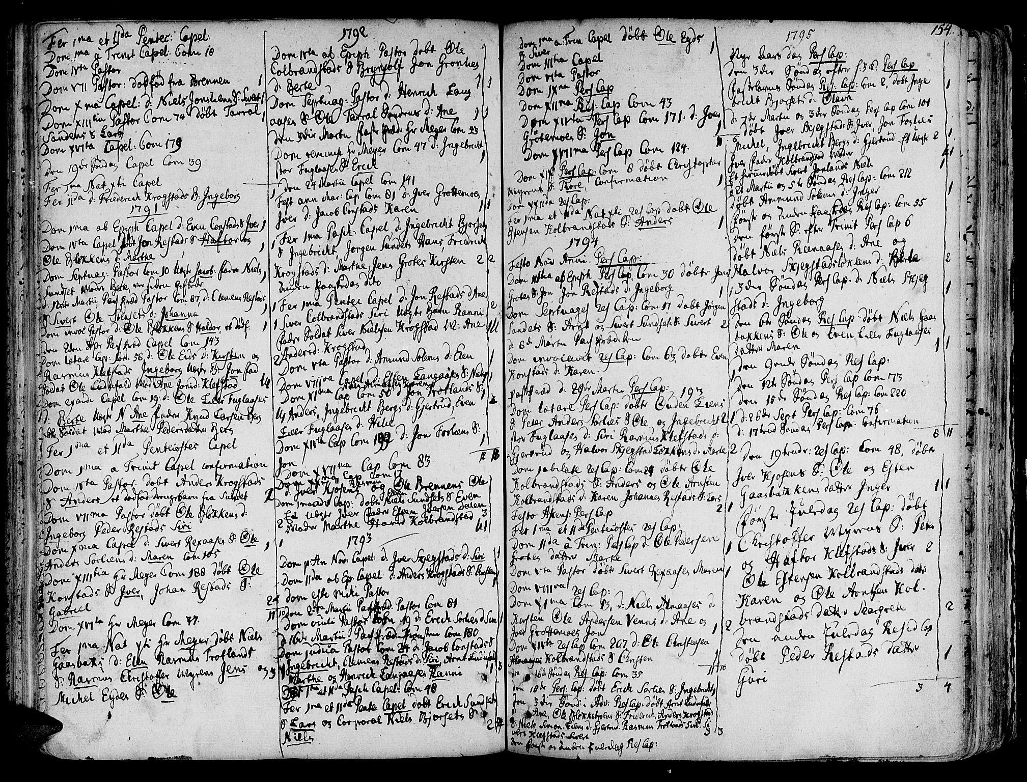 SAT, Ministerialprotokoller, klokkerbøker og fødselsregistre - Sør-Trøndelag, 691/L1064: Ministerialbok nr. 691A02 /4, 1768-1815, s. 154