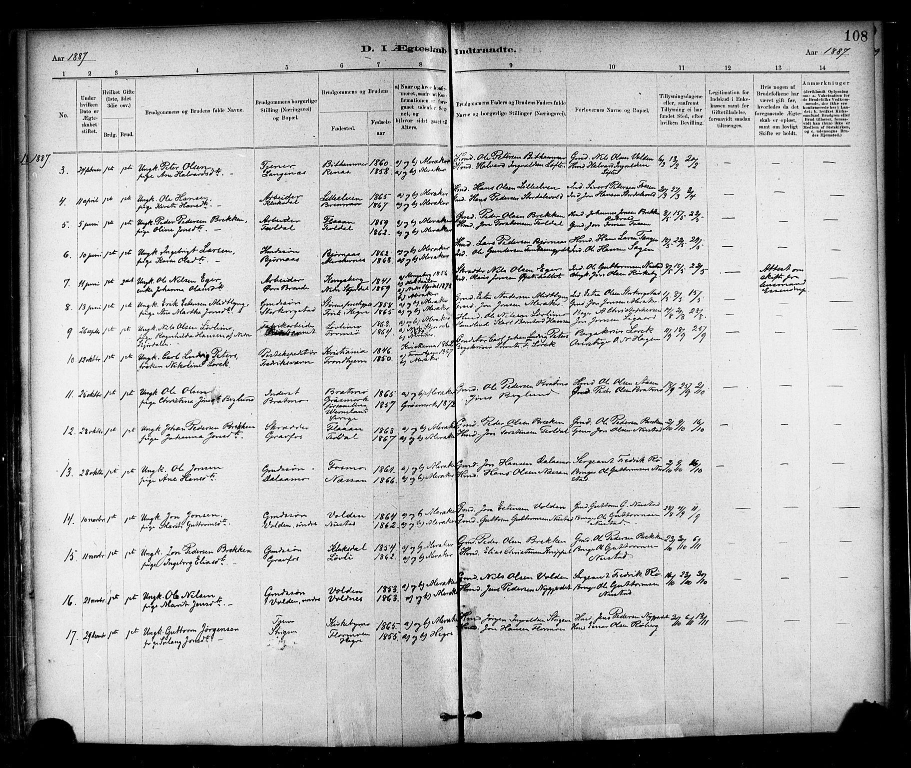 SAT, Ministerialprotokoller, klokkerbøker og fødselsregistre - Nord-Trøndelag, 706/L0047: Ministerialbok nr. 706A03, 1878-1892, s. 108