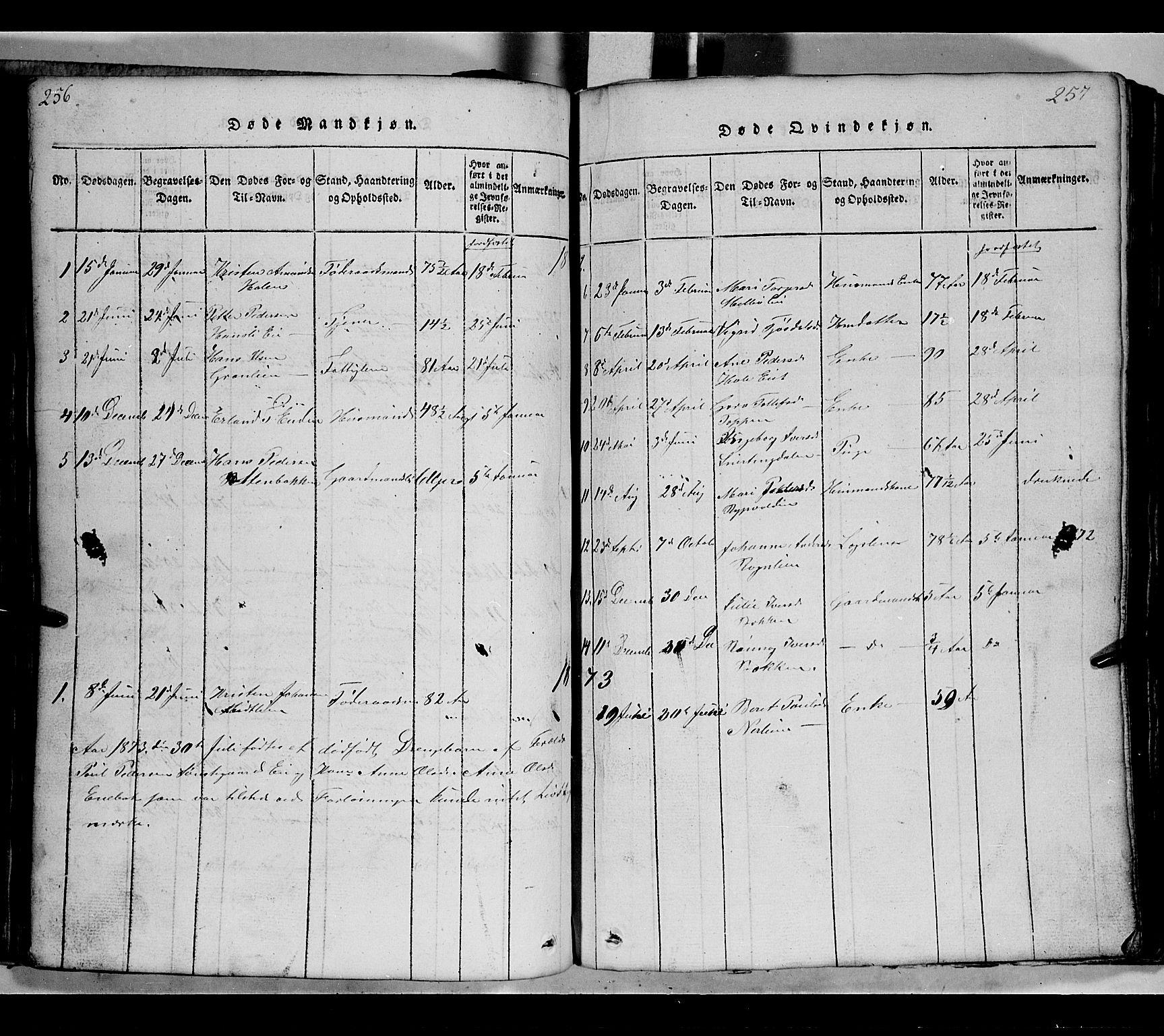 SAH, Gausdal prestekontor, Klokkerbok nr. 2, 1818-1874, s. 256-257