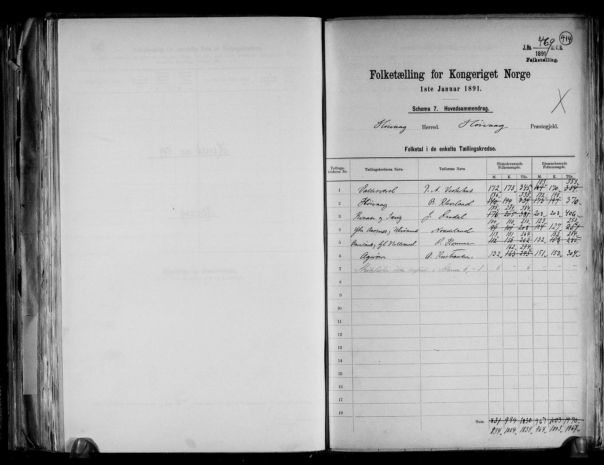 RA, Folketelling 1891 for 0927 Høvåg herred, 1891, s. 2