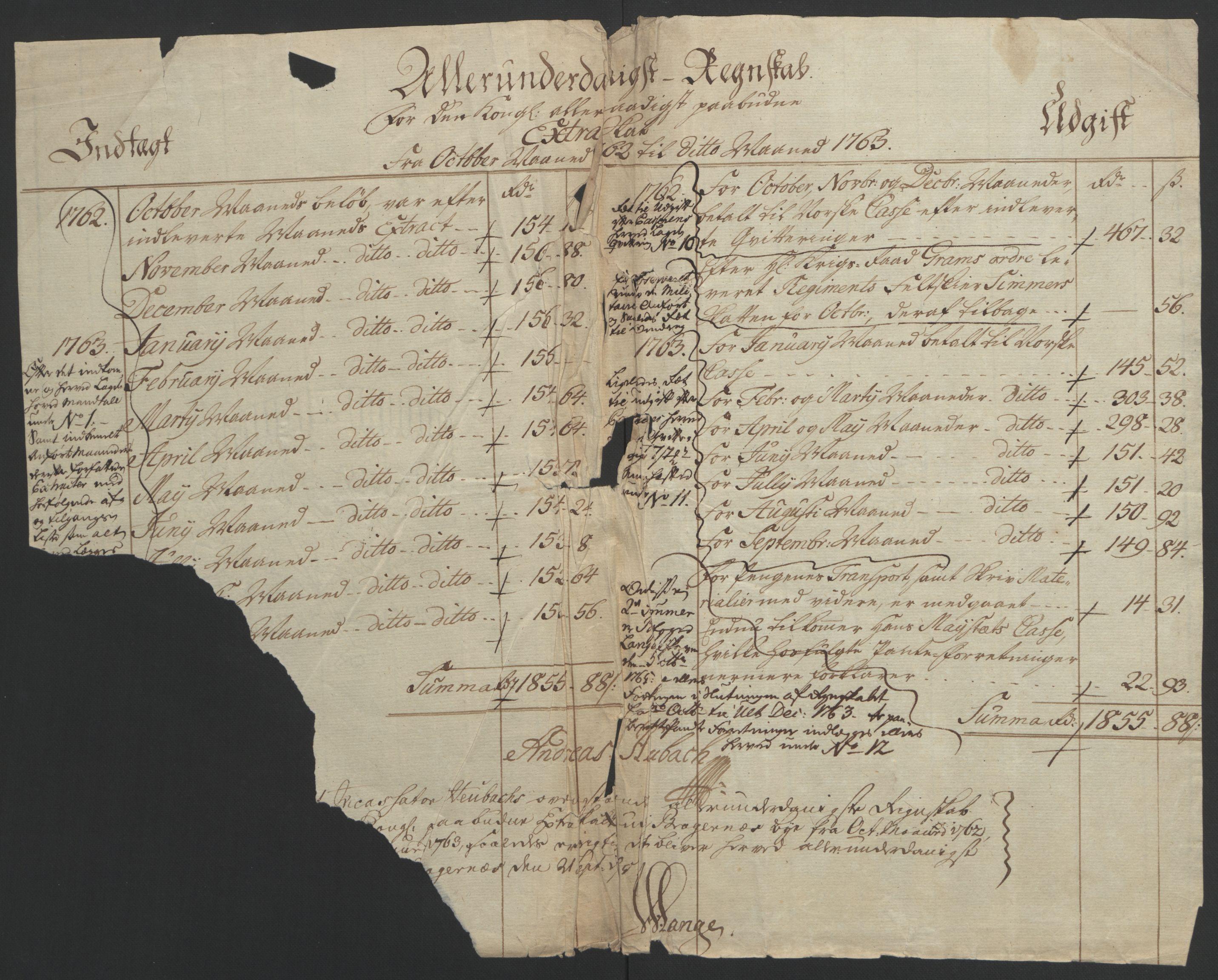 RA, Rentekammeret inntil 1814, Reviderte regnskaper, Byregnskaper, R/Rf/L0119: [F2] Kontribusjonsregnskap, 1762-1767, s. 4