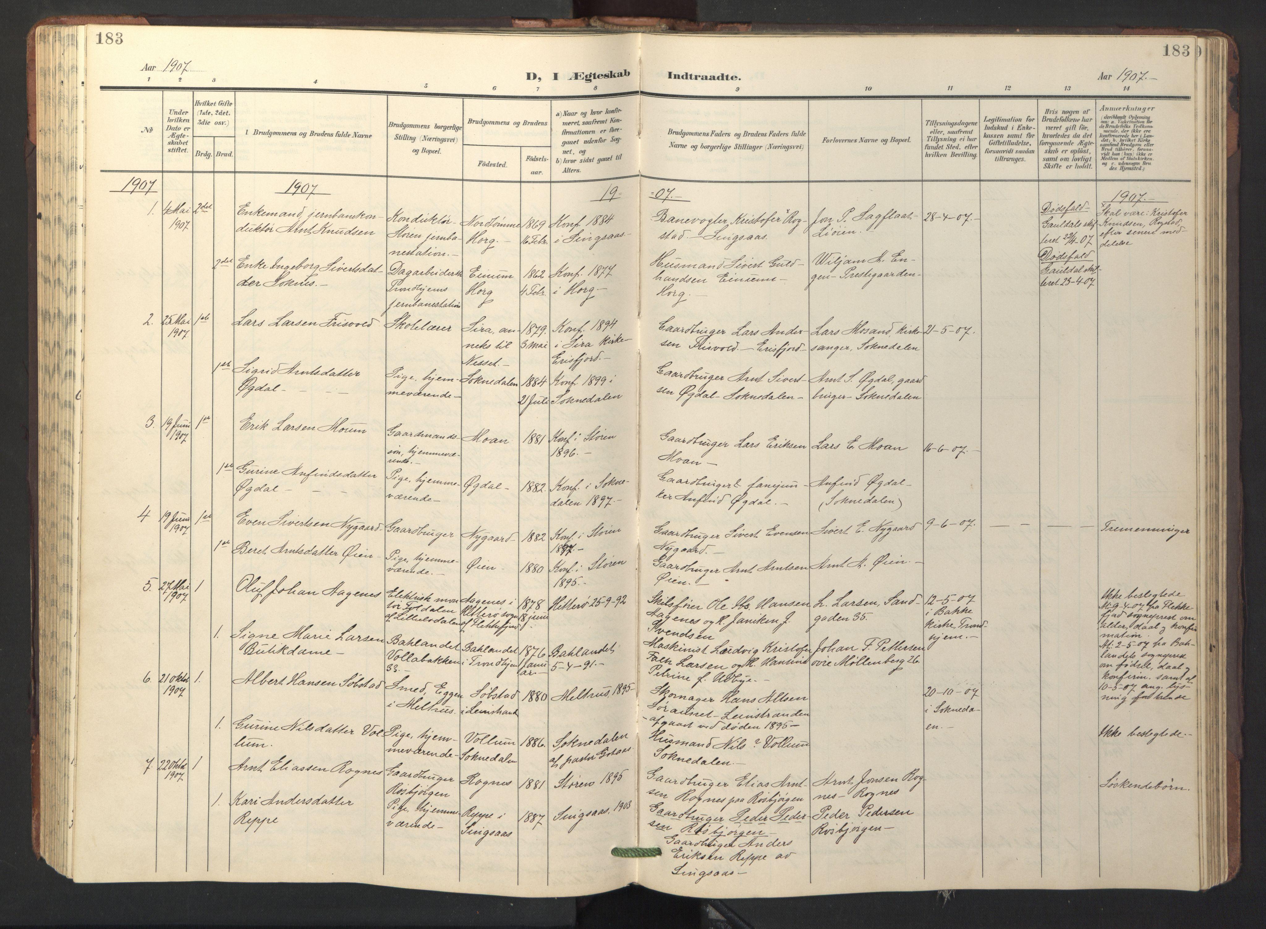SAT, Ministerialprotokoller, klokkerbøker og fødselsregistre - Sør-Trøndelag, 687/L1019: Klokkerbok nr. 687C03, 1904-1931, s. 183