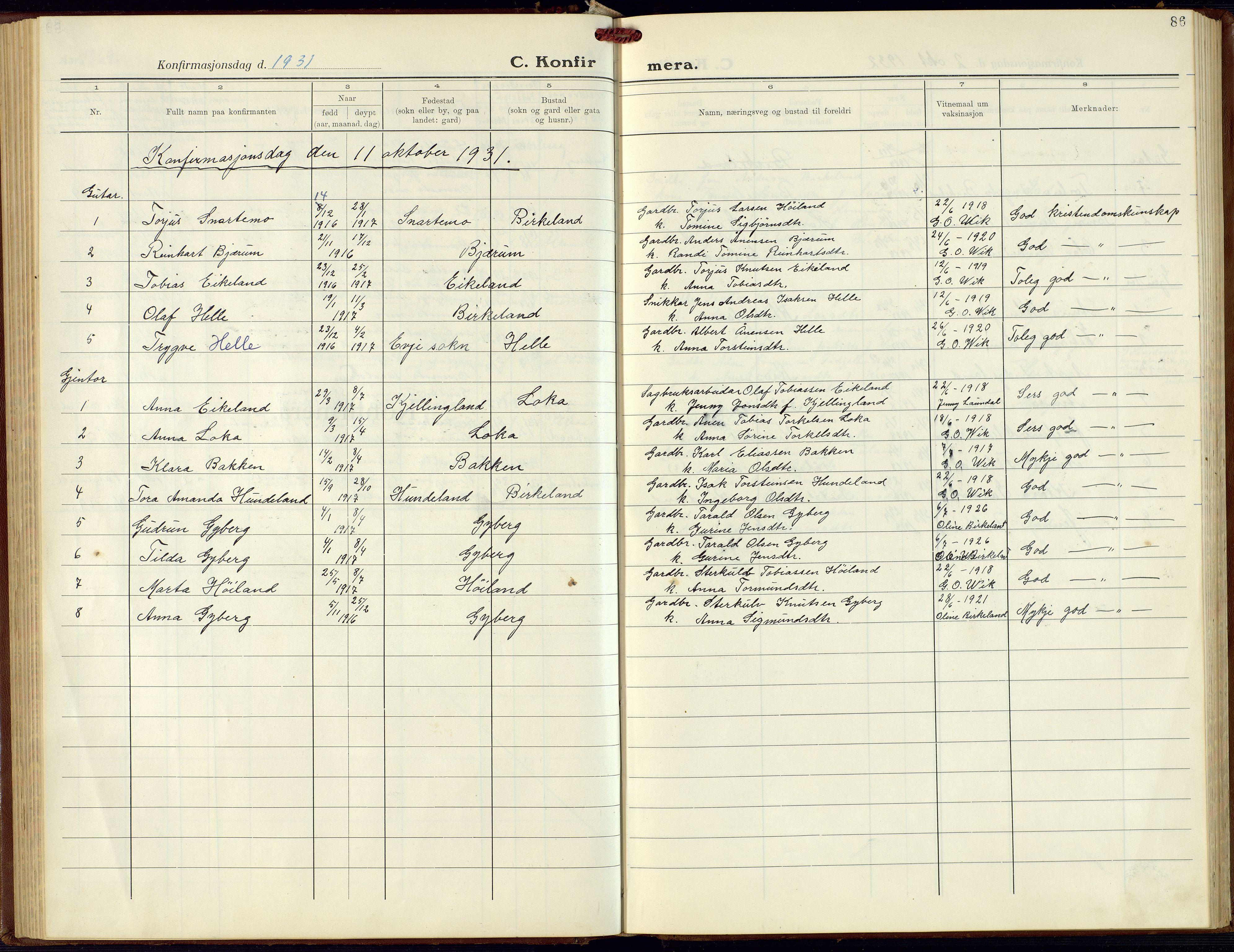SAK, Hægebostad sokneprestkontor, F/Fb/Fba/L0006: Klokkerbok nr. B 6, 1931-1970, s. 86