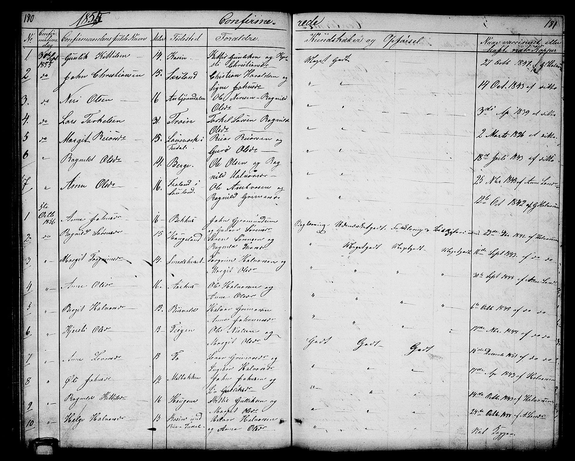 SAKO, Hjartdal kirkebøker, G/Ga/L0002: Klokkerbok nr. I 2, 1854-1888, s. 180-181