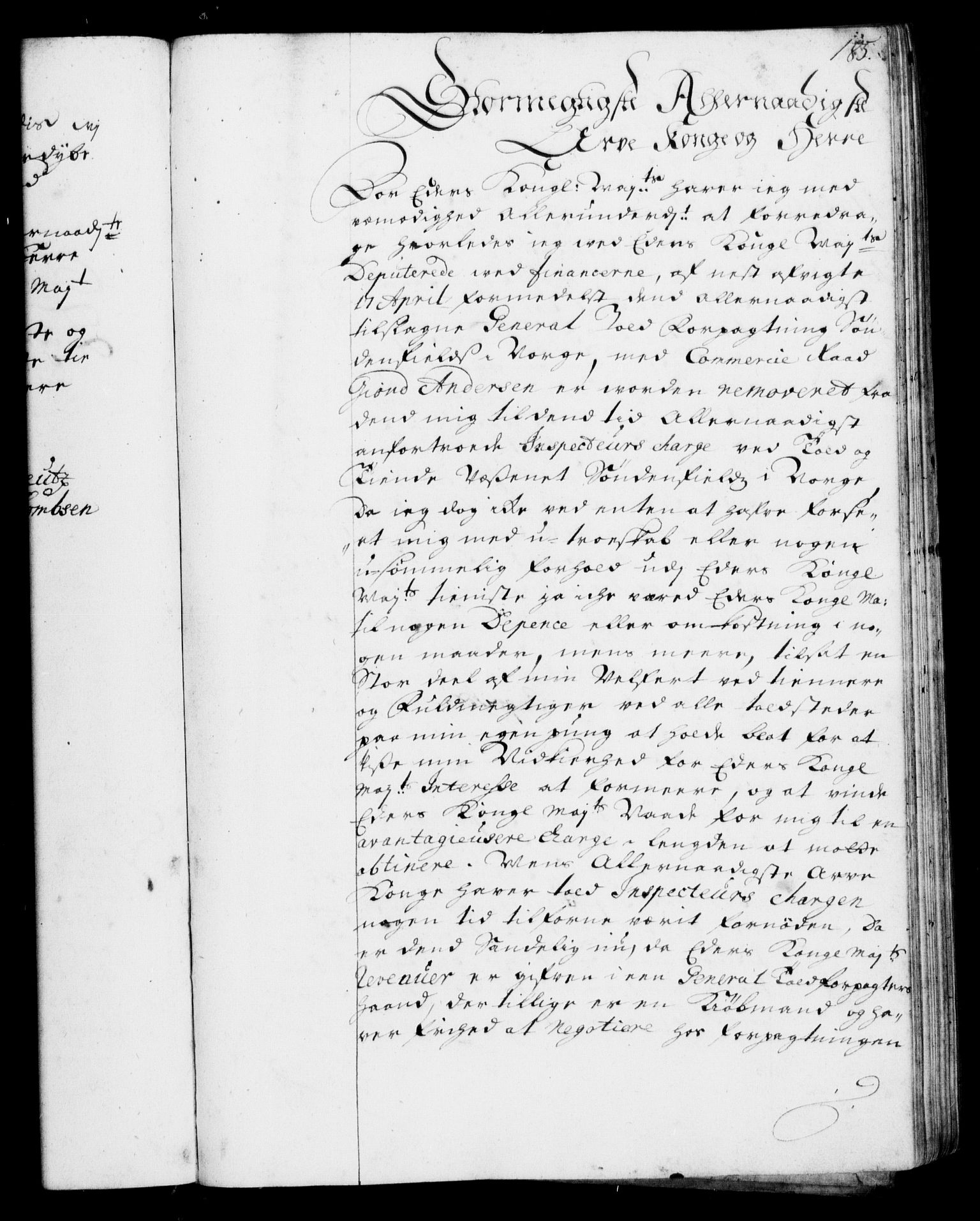 RA, Rentekammeret, Kammerkanselliet, G/Gf/Gfa/L0001: Resolusjonsprotokoll med register (merket RK 52.1), 1695-1706, s. 185