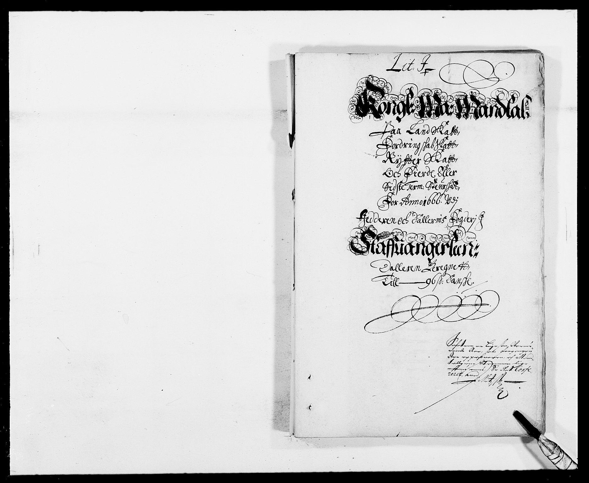 RA, Rentekammeret inntil 1814, Reviderte regnskaper, Fogderegnskap, R46/L2709: Fogderegnskap Jæren og Dalane, 1665-1667, s. 248