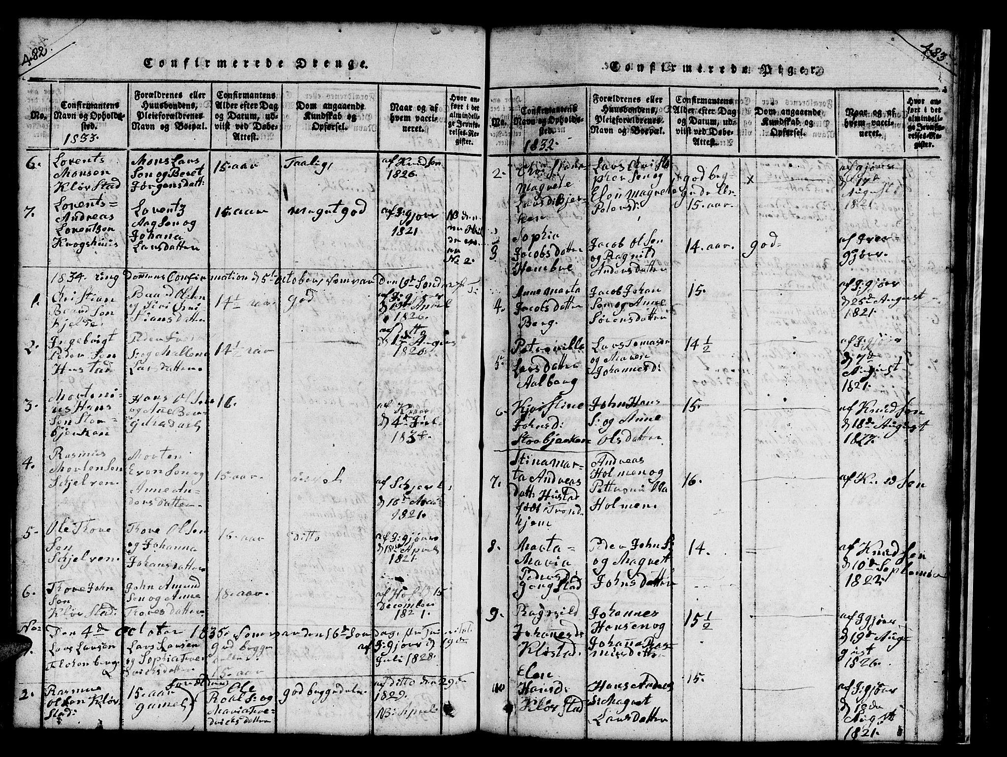 SAT, Ministerialprotokoller, klokkerbøker og fødselsregistre - Nord-Trøndelag, 732/L0317: Klokkerbok nr. 732C01, 1816-1881, s. 482-483
