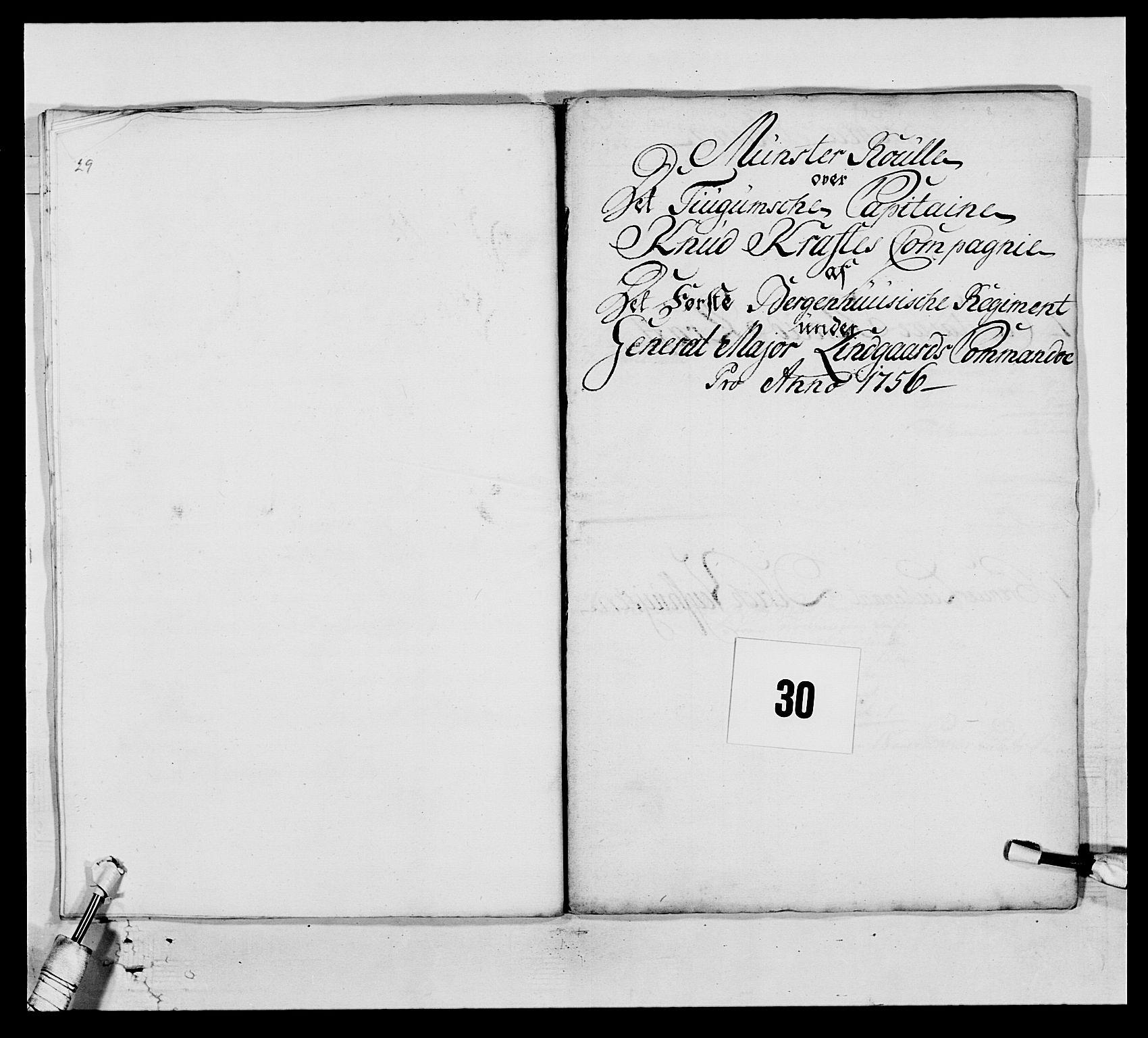 RA, Kommanderende general (KG I) med Det norske krigsdirektorium, E/Ea/L0517: 1. Bergenhusiske regiment, 1742-1756, s. 468
