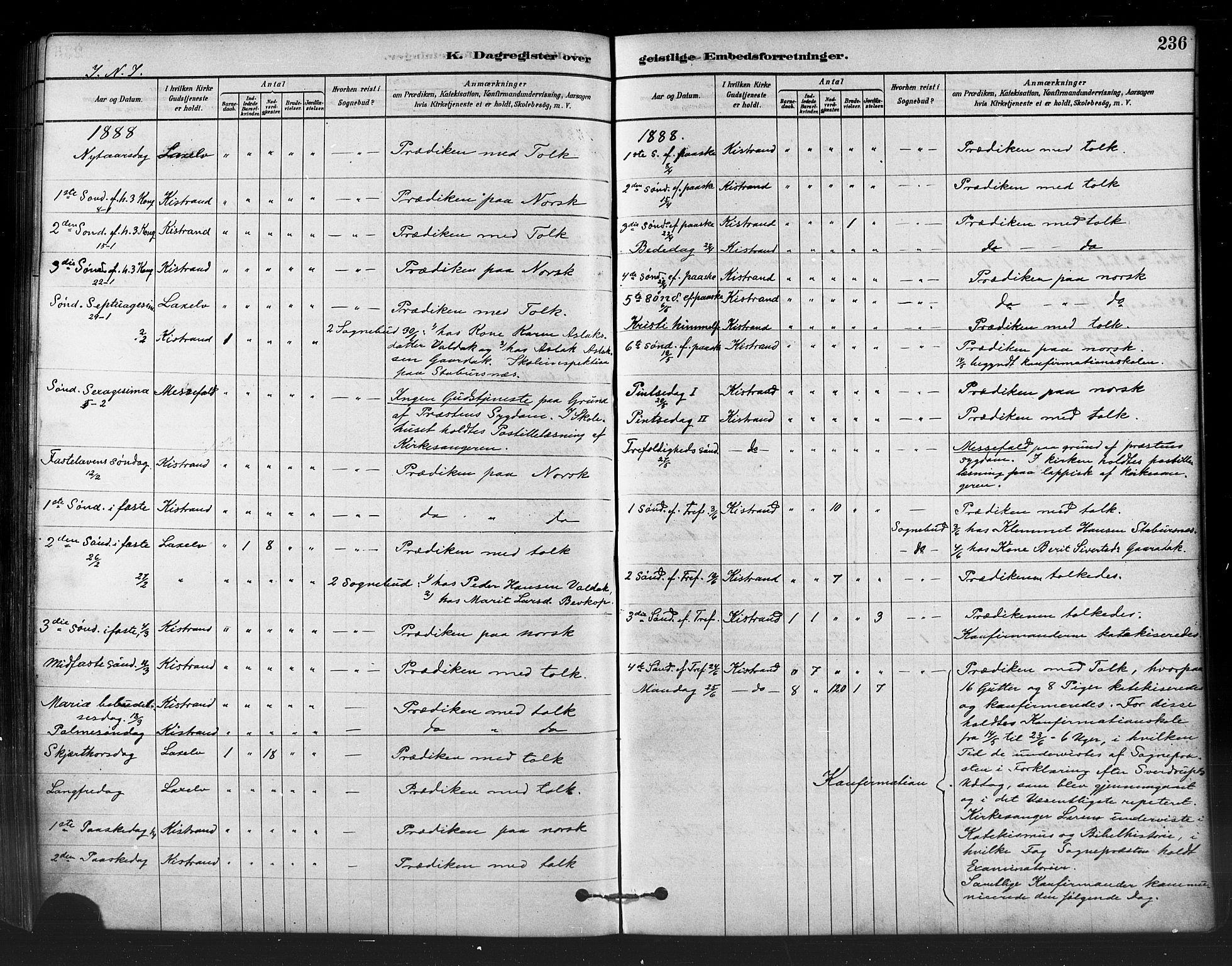 SATØ, Kistrand/Porsanger sokneprestembete, H/Ha/L0007.kirke: Ministerialbok nr. 7, 1881-1889, s. 236