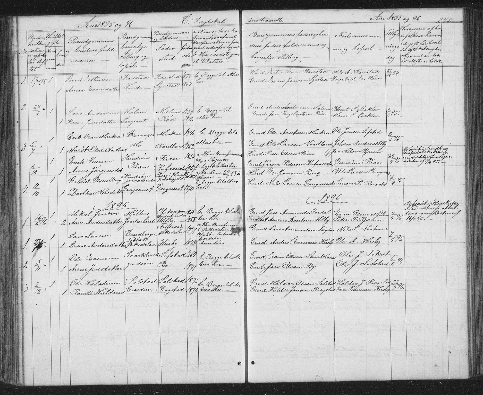 SAT, Ministerialprotokoller, klokkerbøker og fødselsregistre - Sør-Trøndelag, 667/L0798: Klokkerbok nr. 667C03, 1867-1929, s. 242