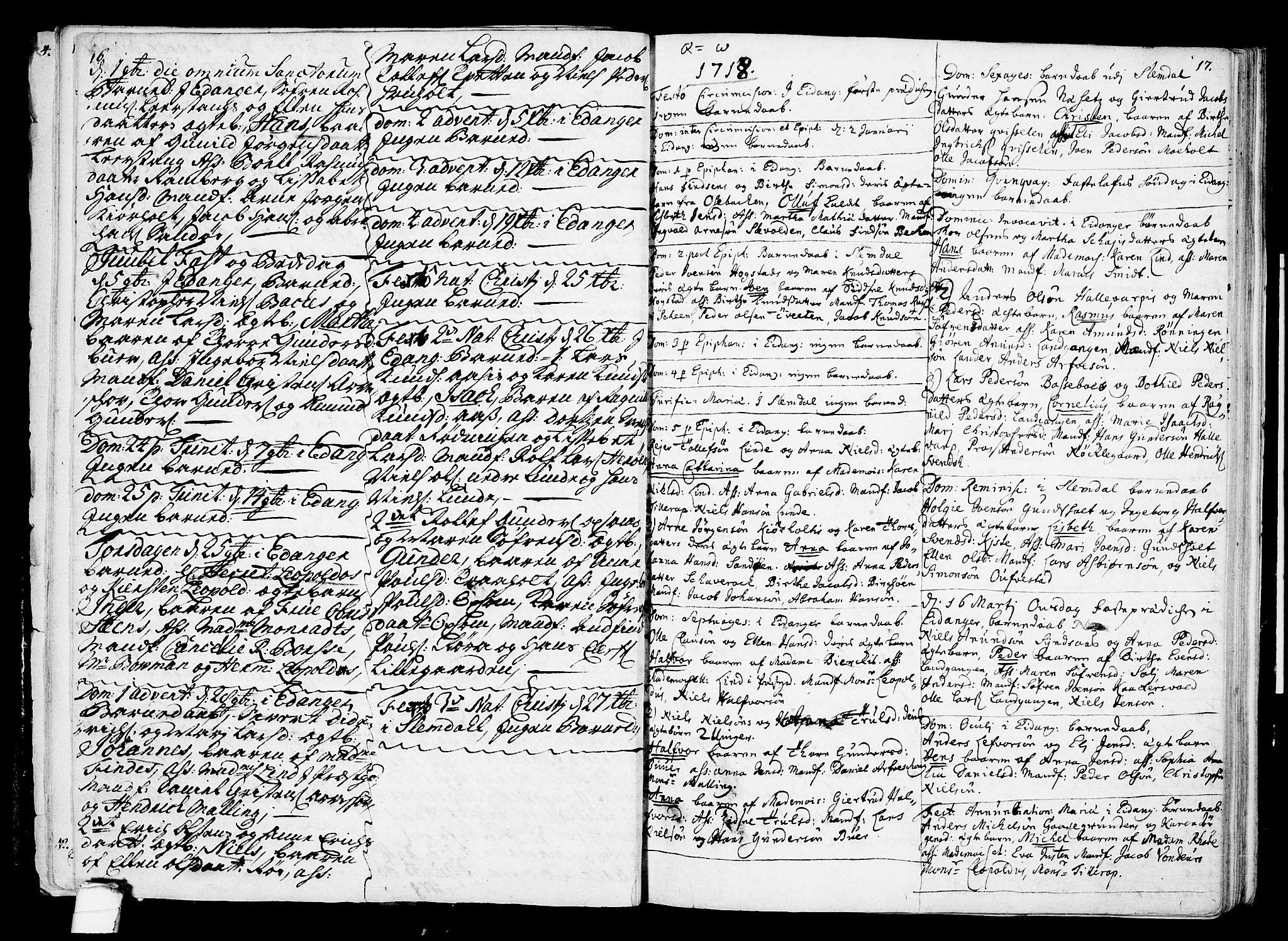 SAKO, Eidanger kirkebøker, F/Fa/L0002: Ministerialbok nr. 2, 1712-1720, s. 16-17