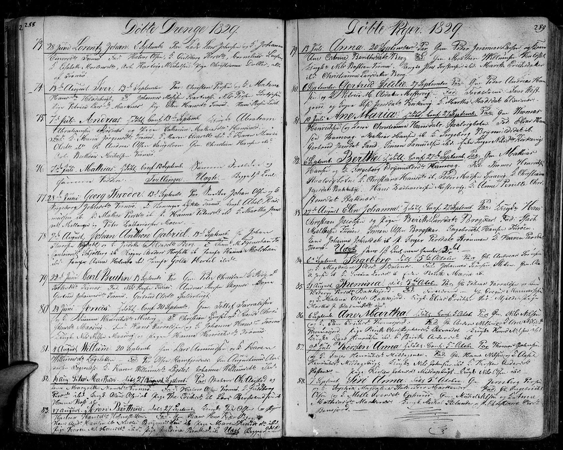 SATØ, Tromsø sokneprestkontor/stiftsprosti/domprosti, G/Ga/L0008kirke: Ministerialbok nr. 8, 1829-1837, s. 288-289