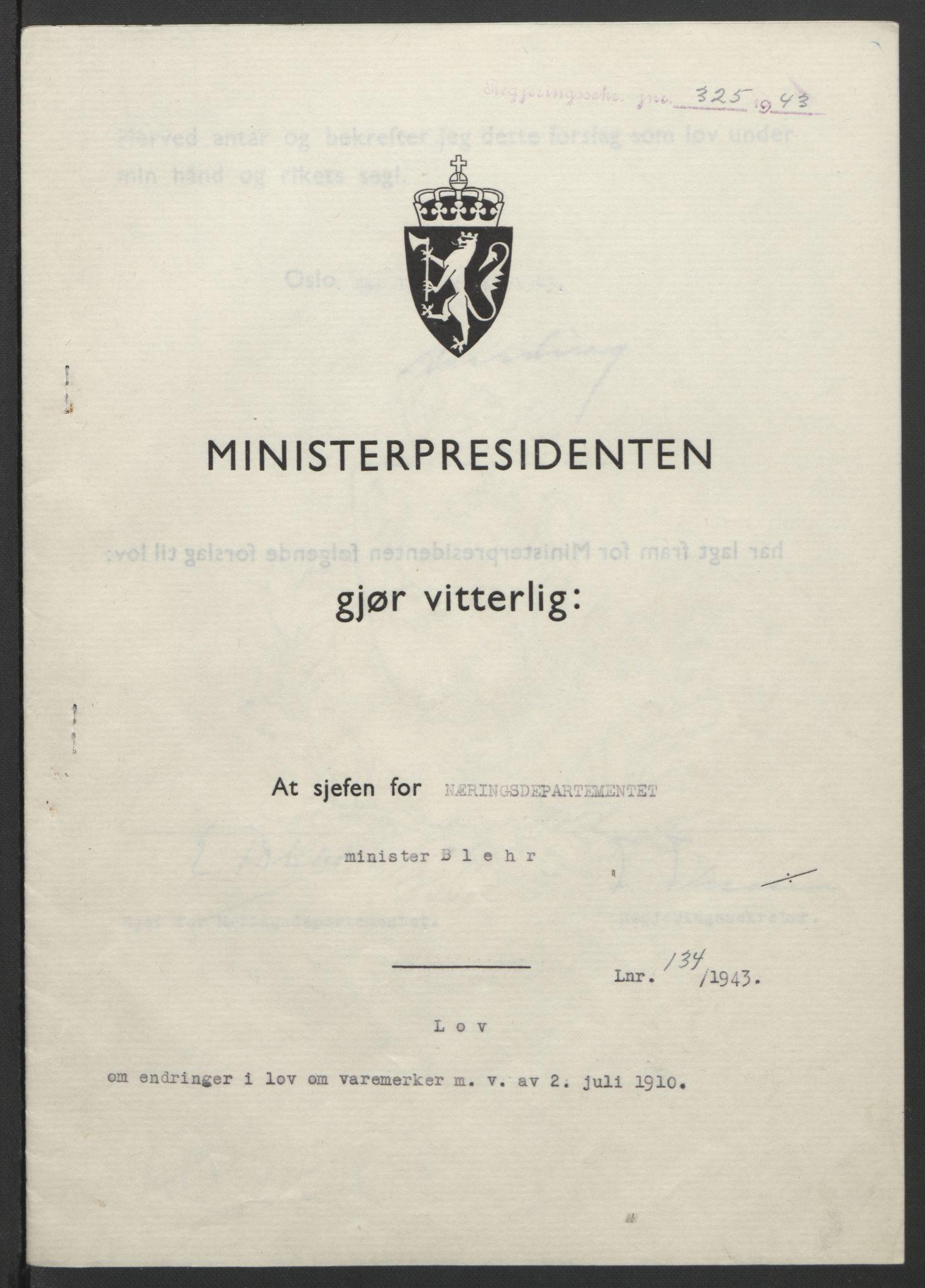 RA, NS-administrasjonen 1940-1945 (Statsrådsekretariatet, de kommisariske statsråder mm), D/Db/L0099: Lover, 1943, s. 624