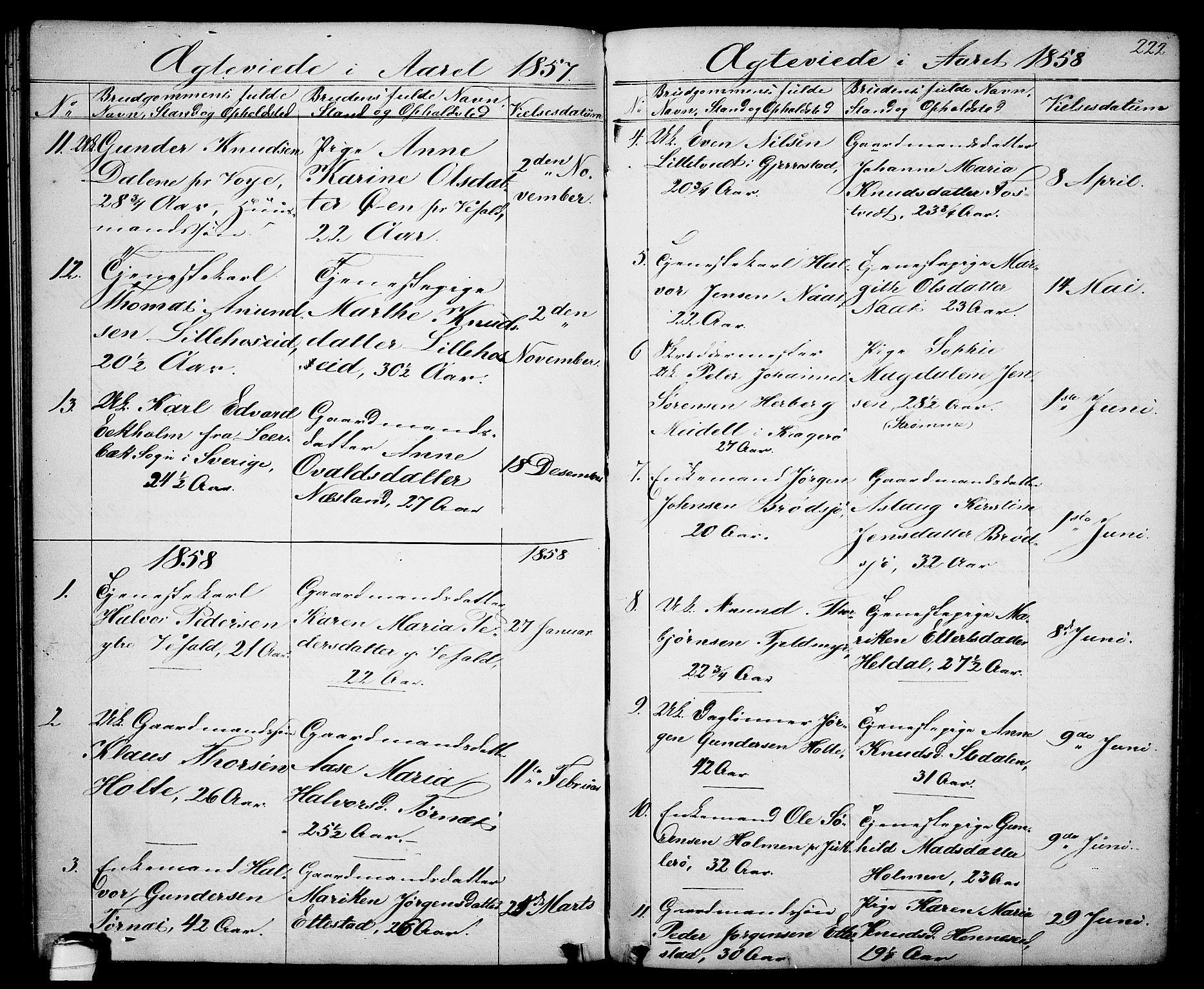 SAKO, Drangedal kirkebøker, G/Ga/L0002: Klokkerbok nr. I 2, 1856-1887, s. 222