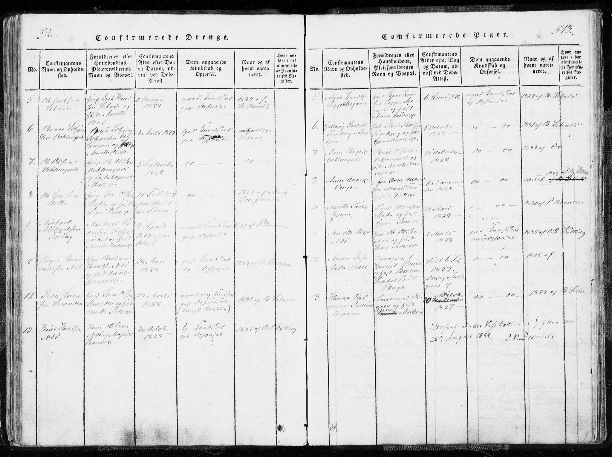 SAT, Ministerialprotokoller, klokkerbøker og fødselsregistre - Møre og Romsdal, 544/L0571: Ministerialbok nr. 544A04, 1818-1853, s. 512-513