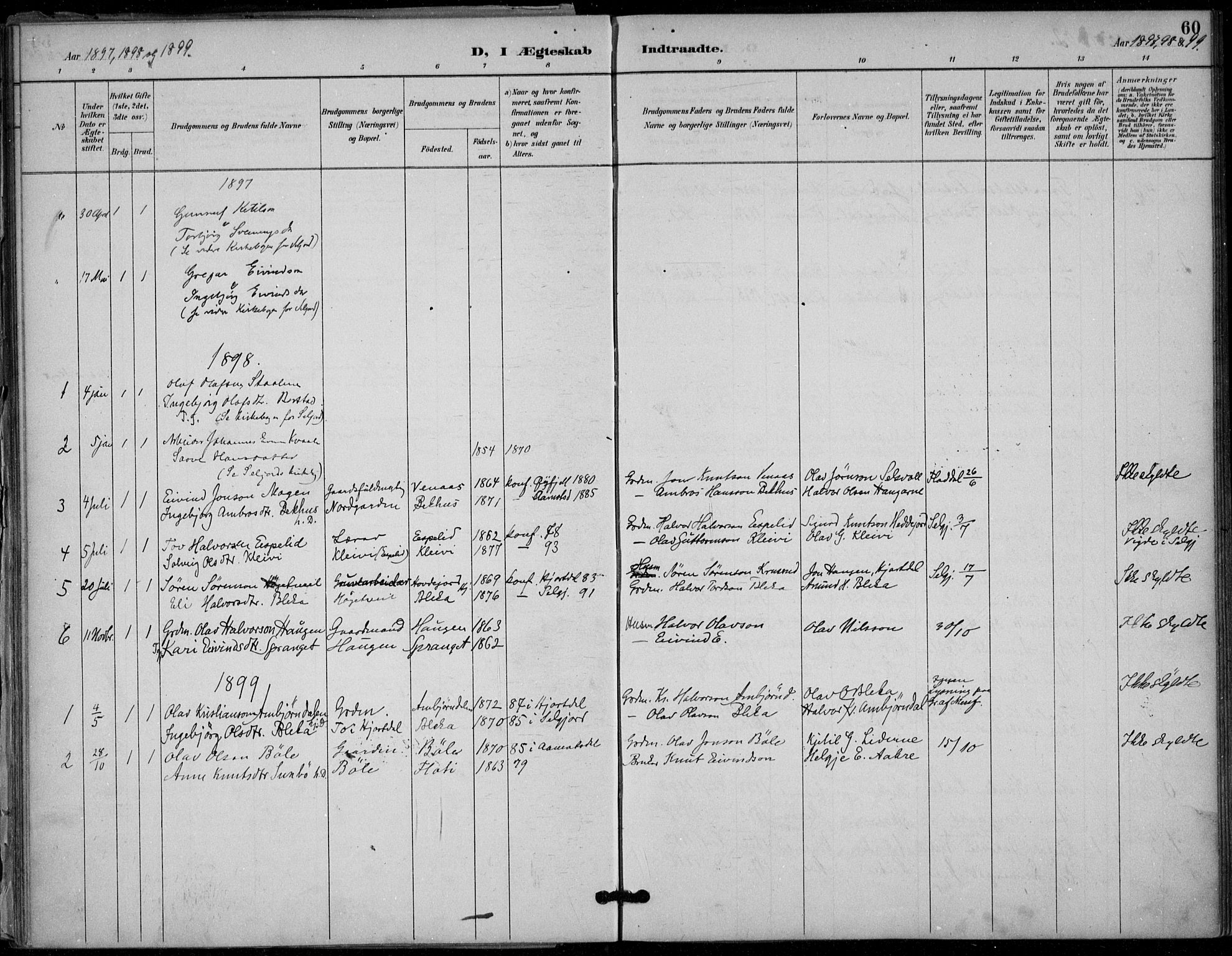 SAKO, Seljord kirkebøker, F/Fb/L0002: Ministerialbok nr. II 2, 1887-1917, s. 60