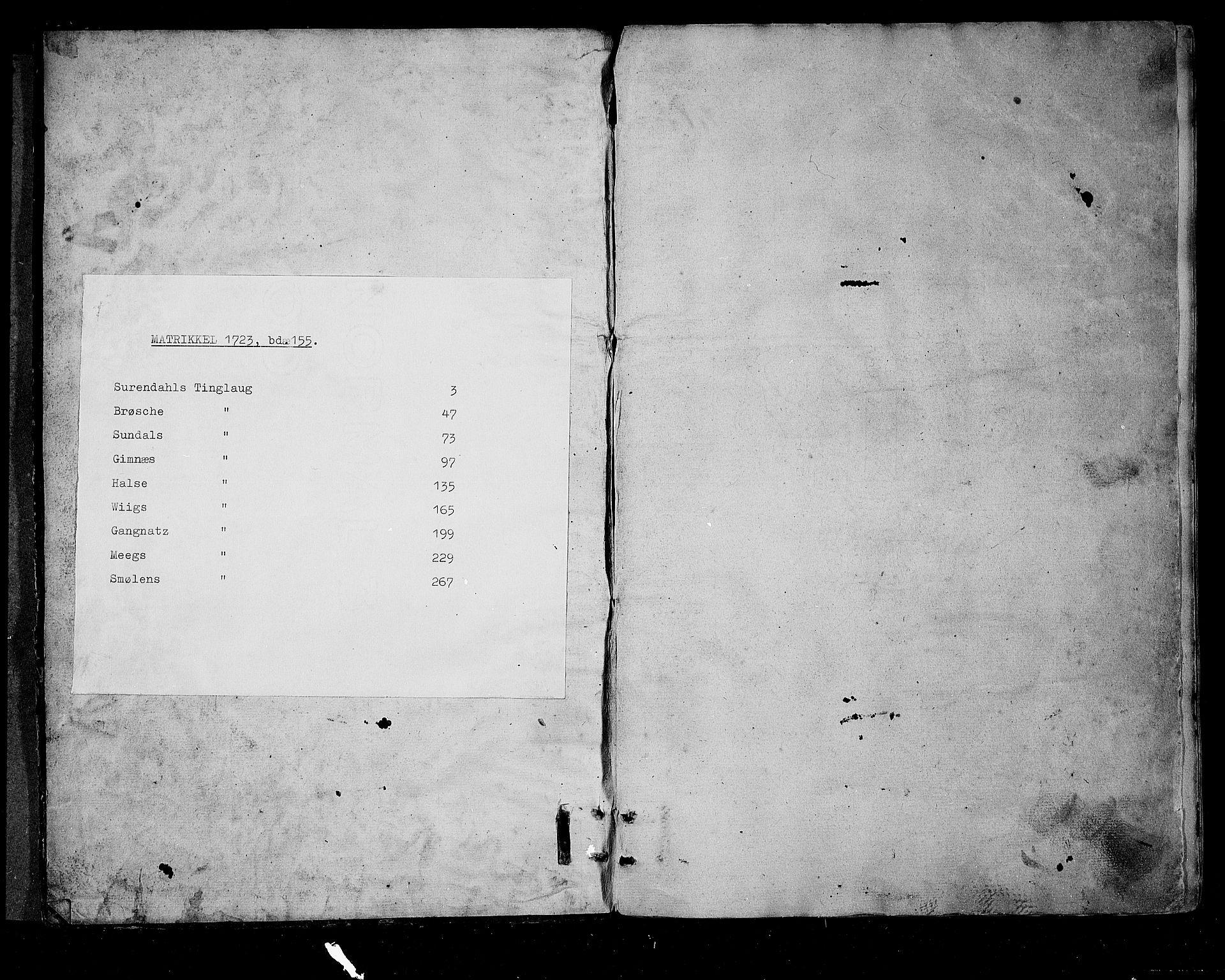 RA, Rentekammeret inntil 1814, Realistisk ordnet avdeling, N/Nb/Nbf/L0155: Nordmøre matrikkelprotokoll, 1721-1723, s. upaginert