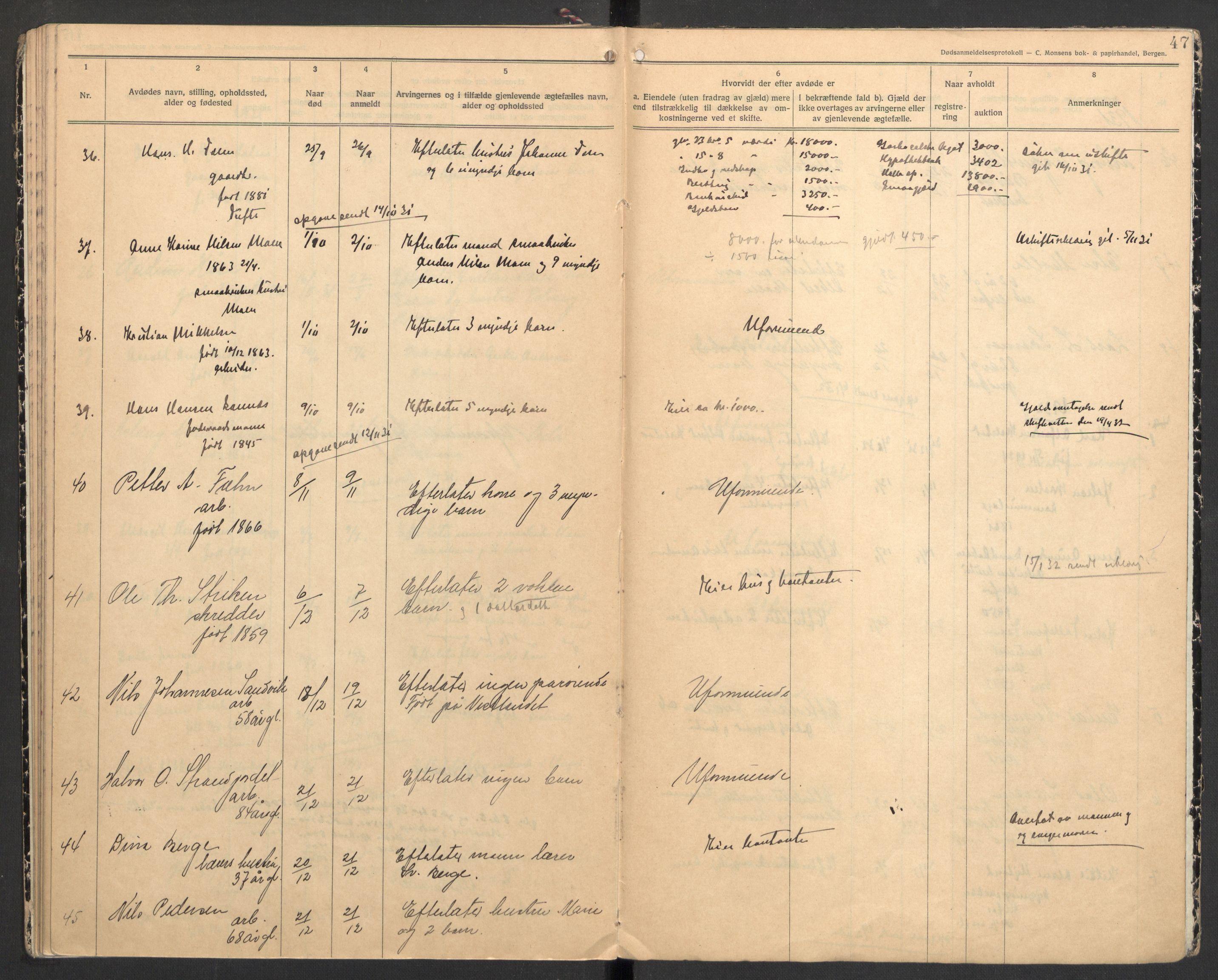 SAKO, Holla lensmannskontor, H/Ha/L0002: Dødsanmeldelsesprotokoll, 1923-1932