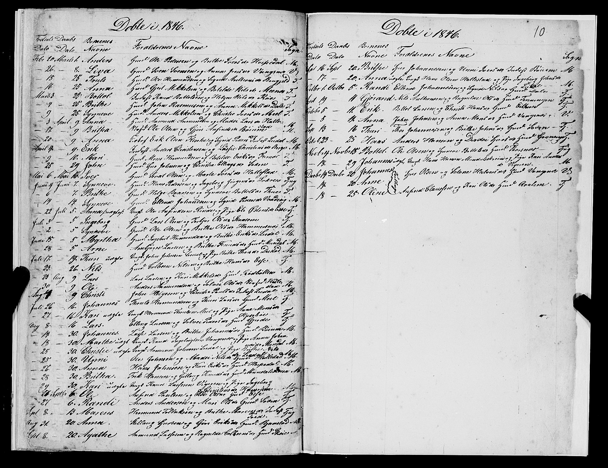SAB, Leikanger Sokneprestembete, Ministerialbok nr. A 1, 1834-1846, s. 10