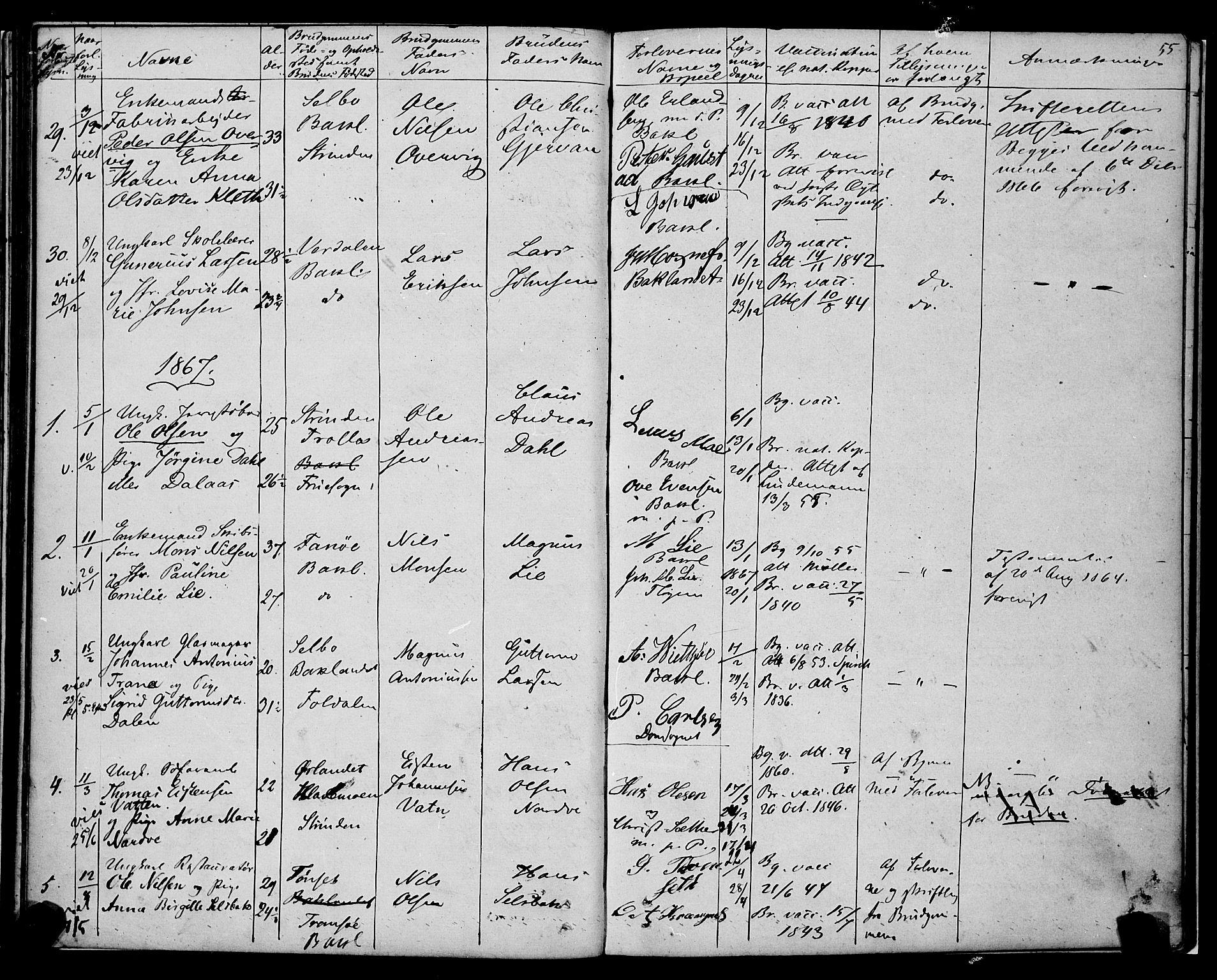 SAT, Ministerialprotokoller, klokkerbøker og fødselsregistre - Sør-Trøndelag, 604/L0187: Ministerialbok nr. 604A08, 1847-1878, s. 55