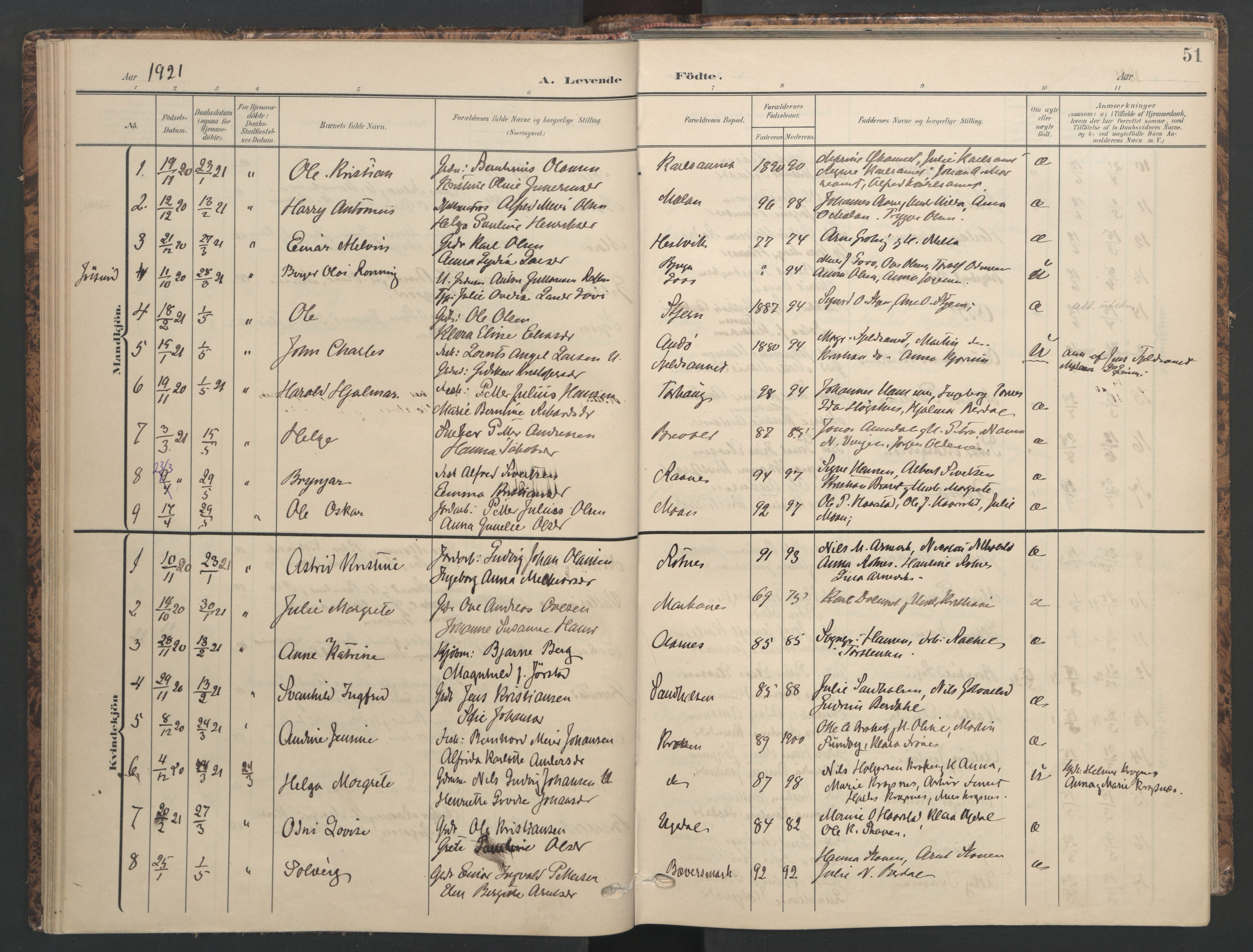 SAT, Ministerialprotokoller, klokkerbøker og fødselsregistre - Sør-Trøndelag, 655/L0682: Ministerialbok nr. 655A11, 1908-1922, s. 51