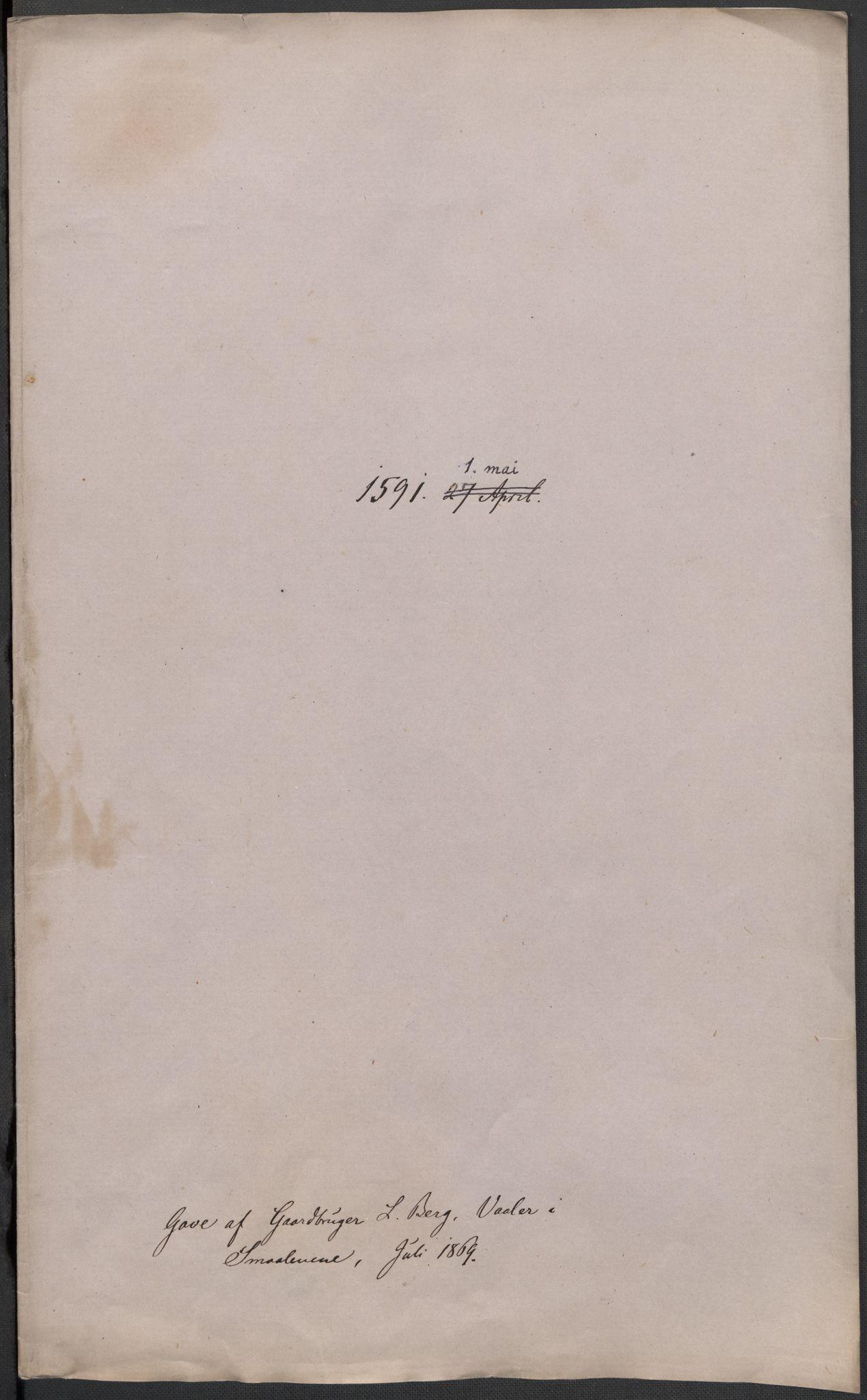 RA, Riksarkivets diplomsamling, F02/L0093: Dokumenter, 1591, s. 72