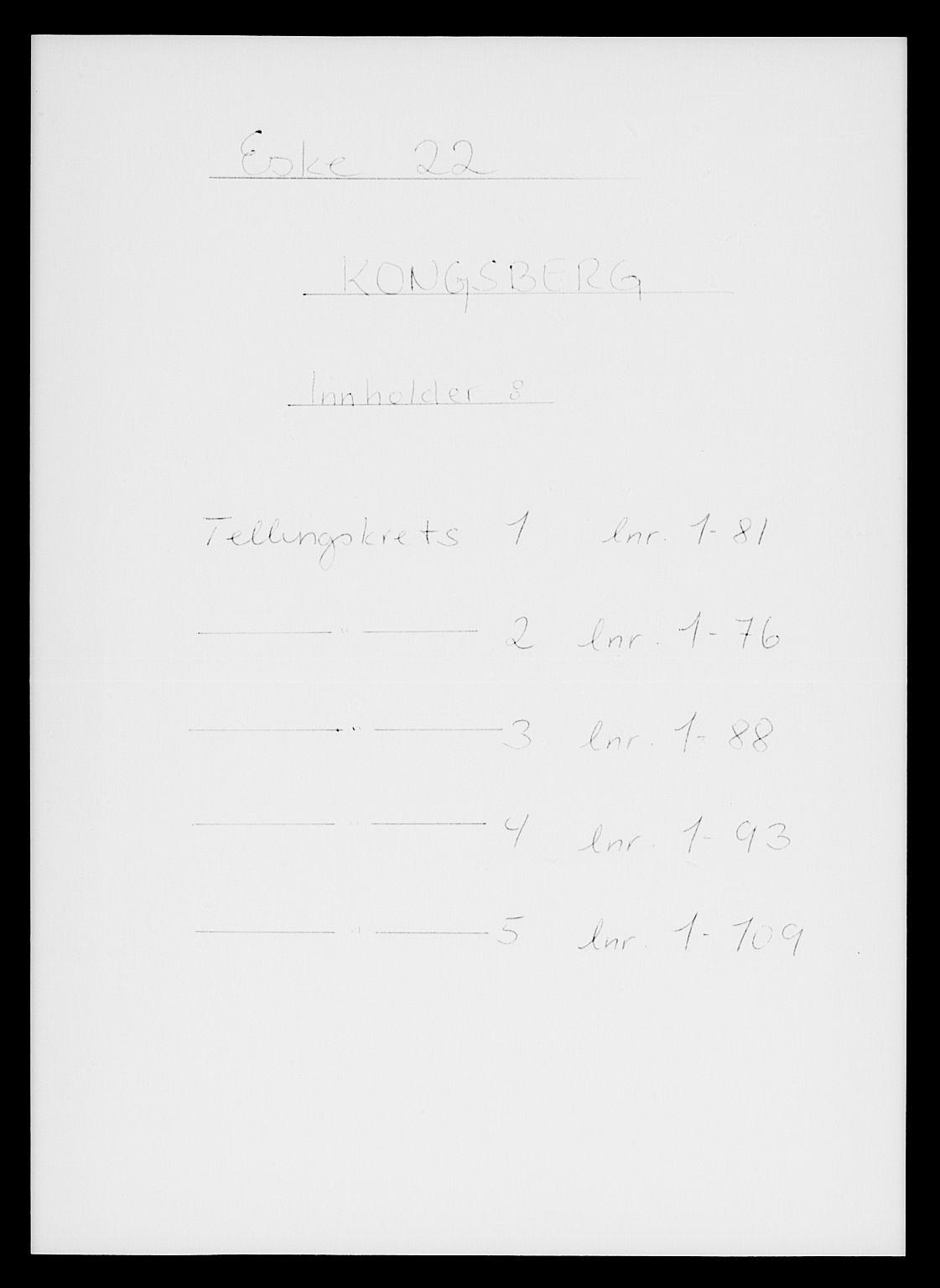 SAKO, Folketelling 1885 for 0604 Kongsberg kjøpstad, 1885