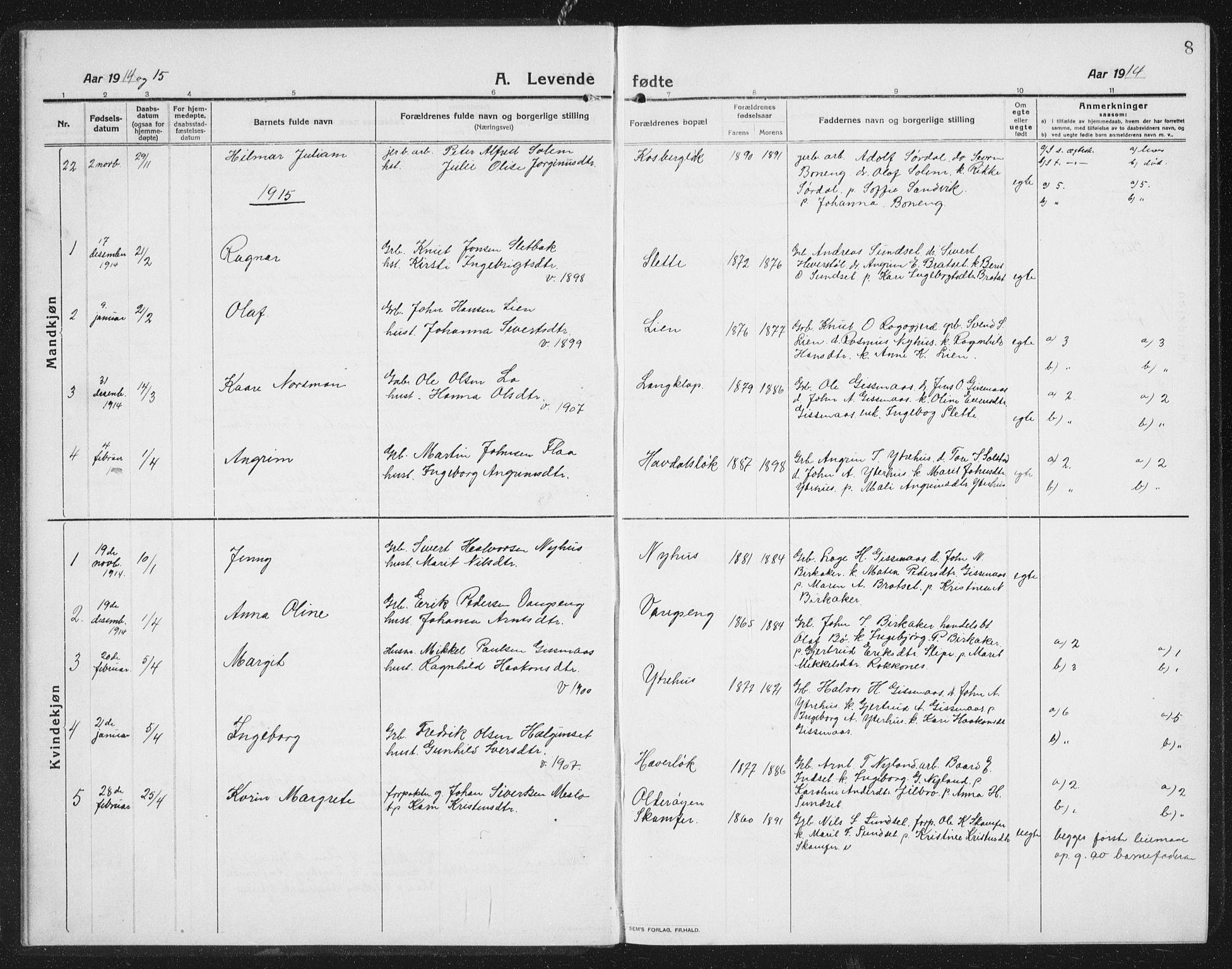SAT, Ministerialprotokoller, klokkerbøker og fødselsregistre - Sør-Trøndelag, 675/L0888: Klokkerbok nr. 675C01, 1913-1935, s. 8