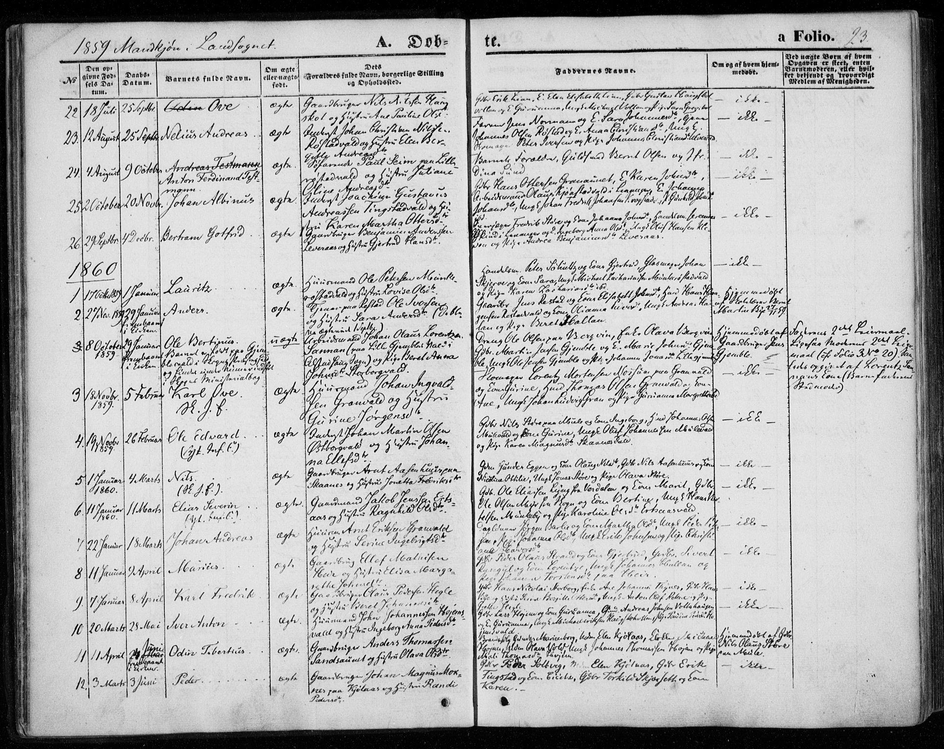 SAT, Ministerialprotokoller, klokkerbøker og fødselsregistre - Nord-Trøndelag, 720/L0184: Ministerialbok nr. 720A02 /2, 1855-1863, s. 23