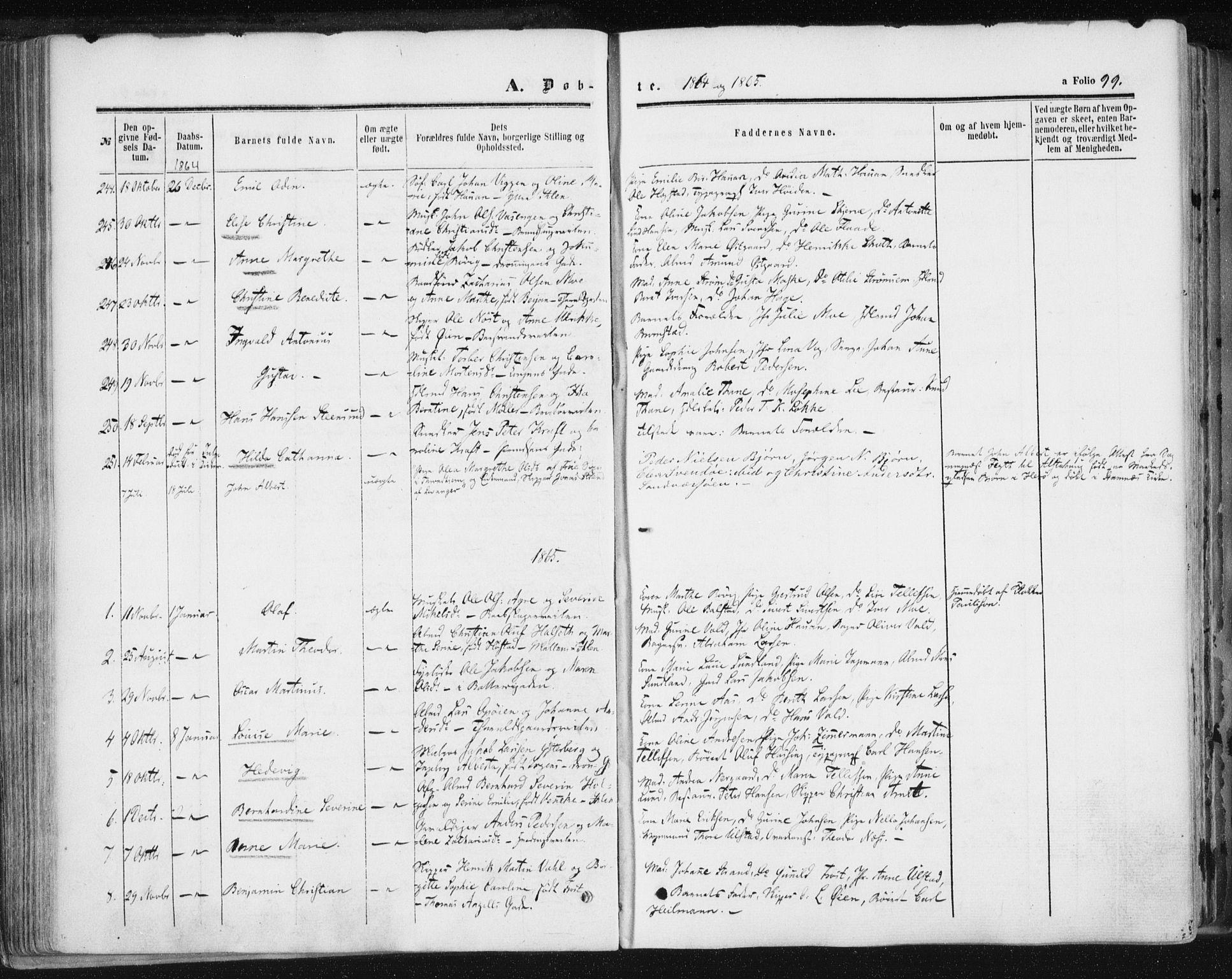 SAT, Ministerialprotokoller, klokkerbøker og fødselsregistre - Sør-Trøndelag, 602/L0115: Ministerialbok nr. 602A13, 1860-1872, s. 99