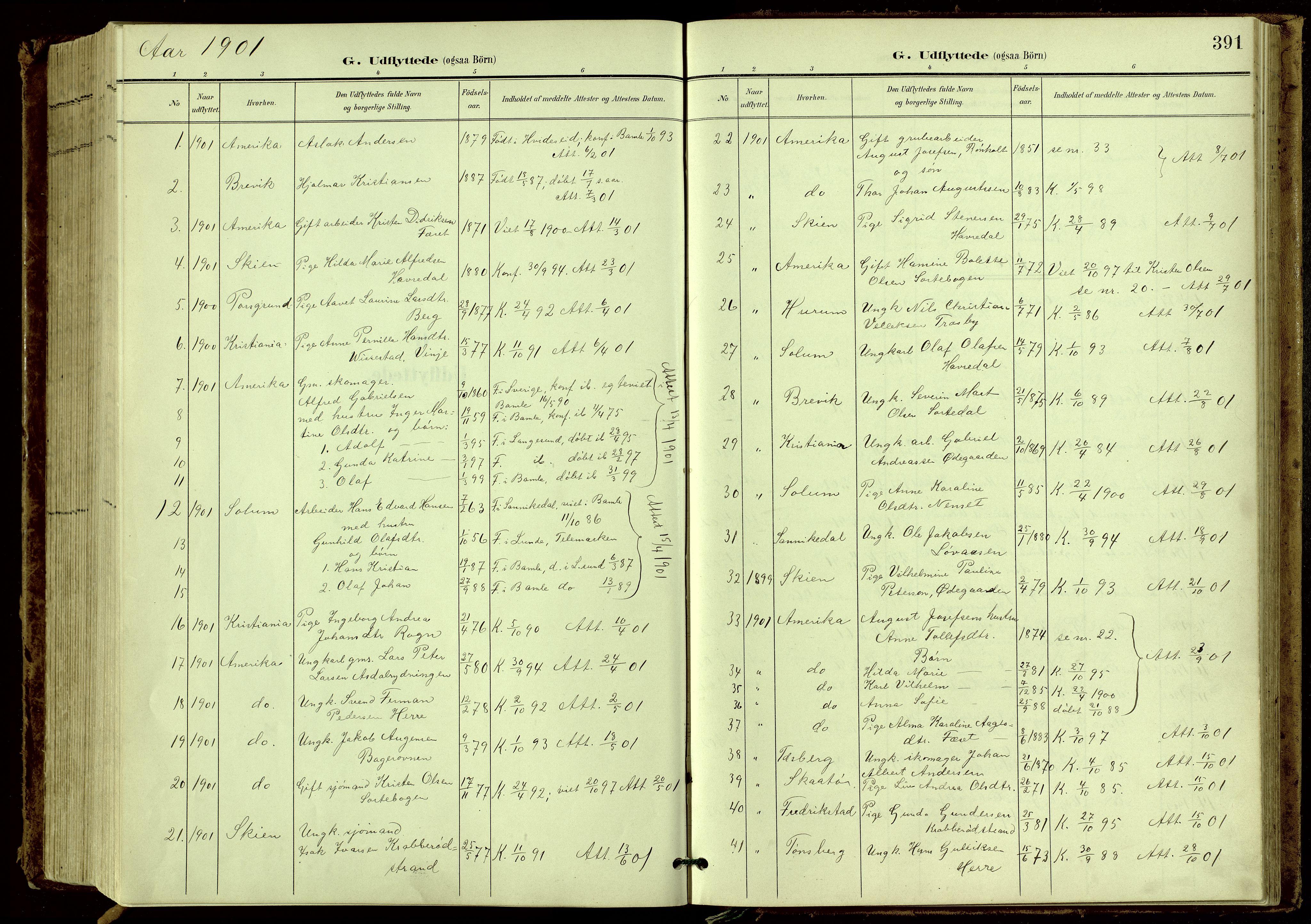 SAKO, Bamble kirkebøker, G/Ga/L0010: Klokkerbok nr. I 10, 1901-1919, s. 391