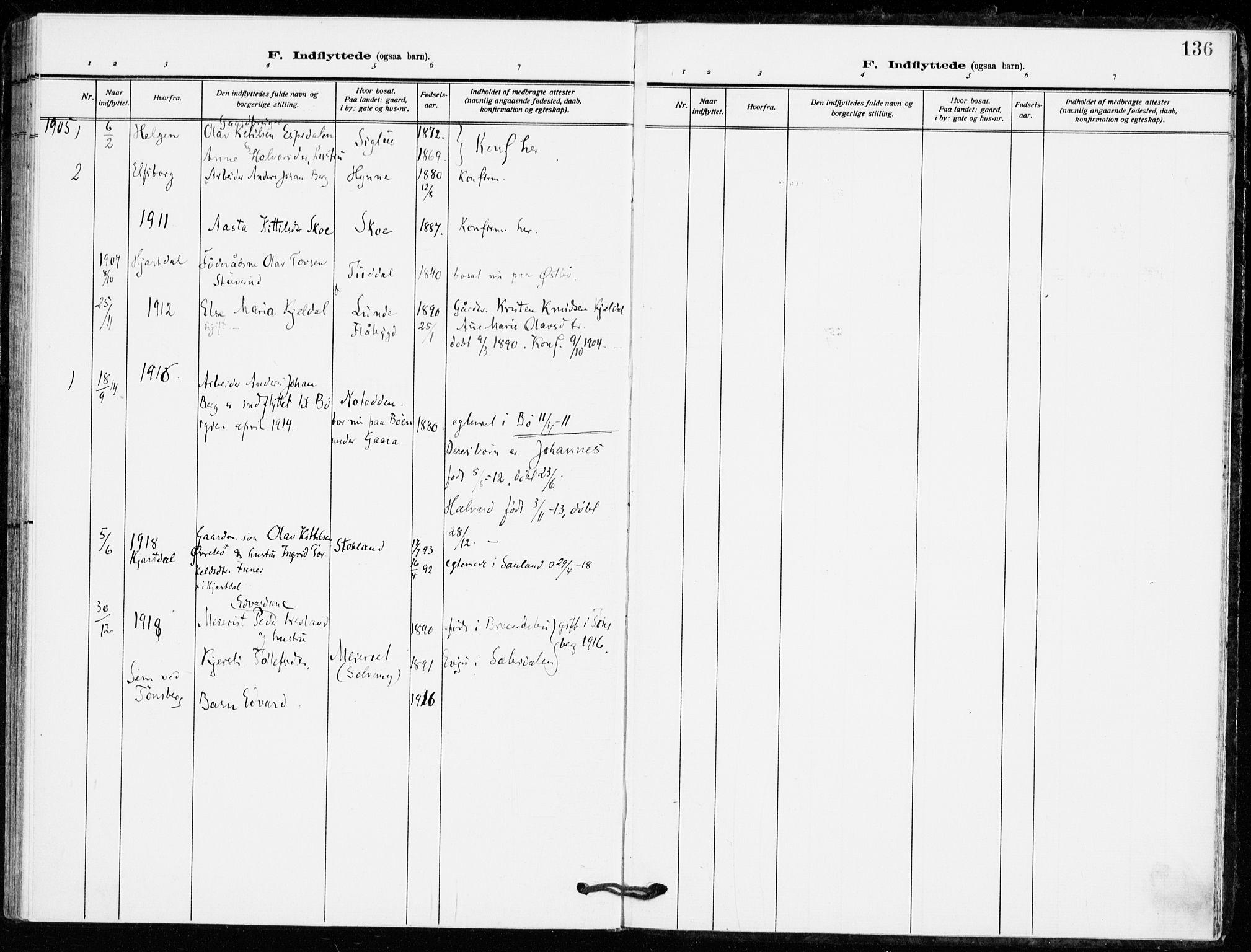 SAKO, Bø kirkebøker, F/Fa/L0013: Ministerialbok nr. 13, 1909-1921, s. 136