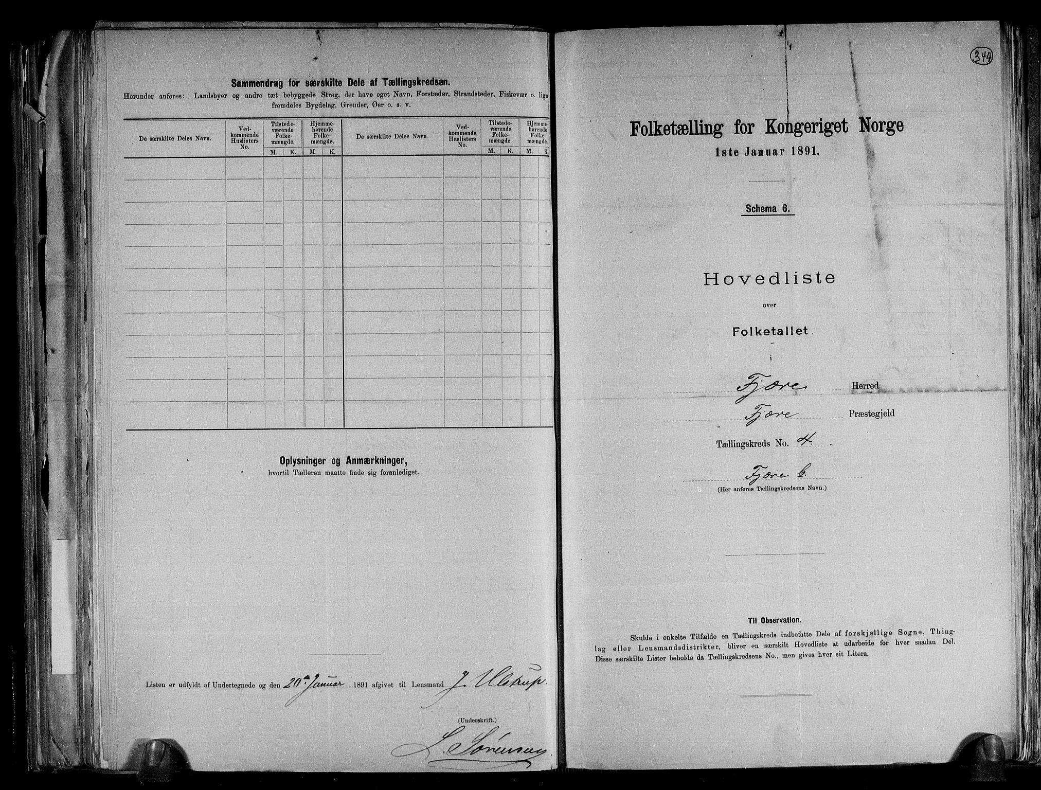 RA, Folketelling 1891 for 0923 Fjære herred, 1891, s. 11