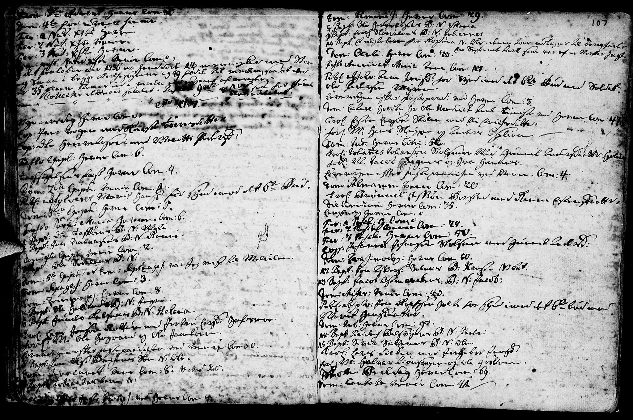 SAT, Ministerialprotokoller, klokkerbøker og fødselsregistre - Sør-Trøndelag, 630/L0488: Ministerialbok nr. 630A01, 1717-1756, s. 106-107