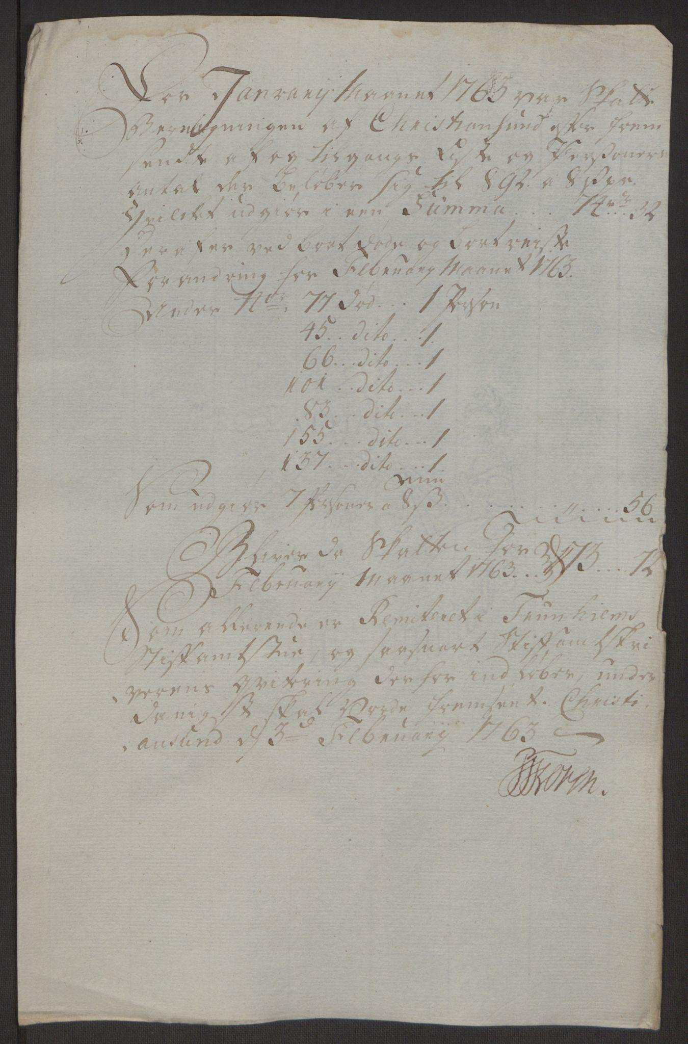 RA, Rentekammeret inntil 1814, Reviderte regnskaper, Byregnskaper, R/Rr/L0495: [R1] Kontribusjonsregnskap, 1762-1772, s. 14