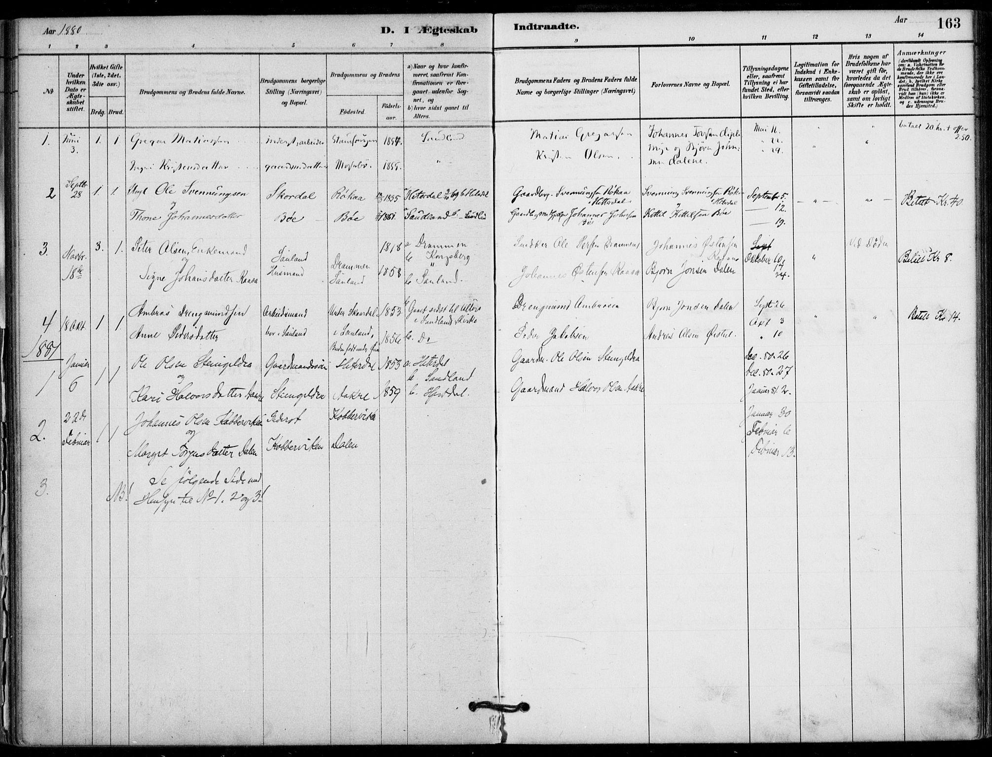 SAKO, Hjartdal kirkebøker, F/Fb/L0002: Ministerialbok nr. II 2, 1880-1932, s. 163