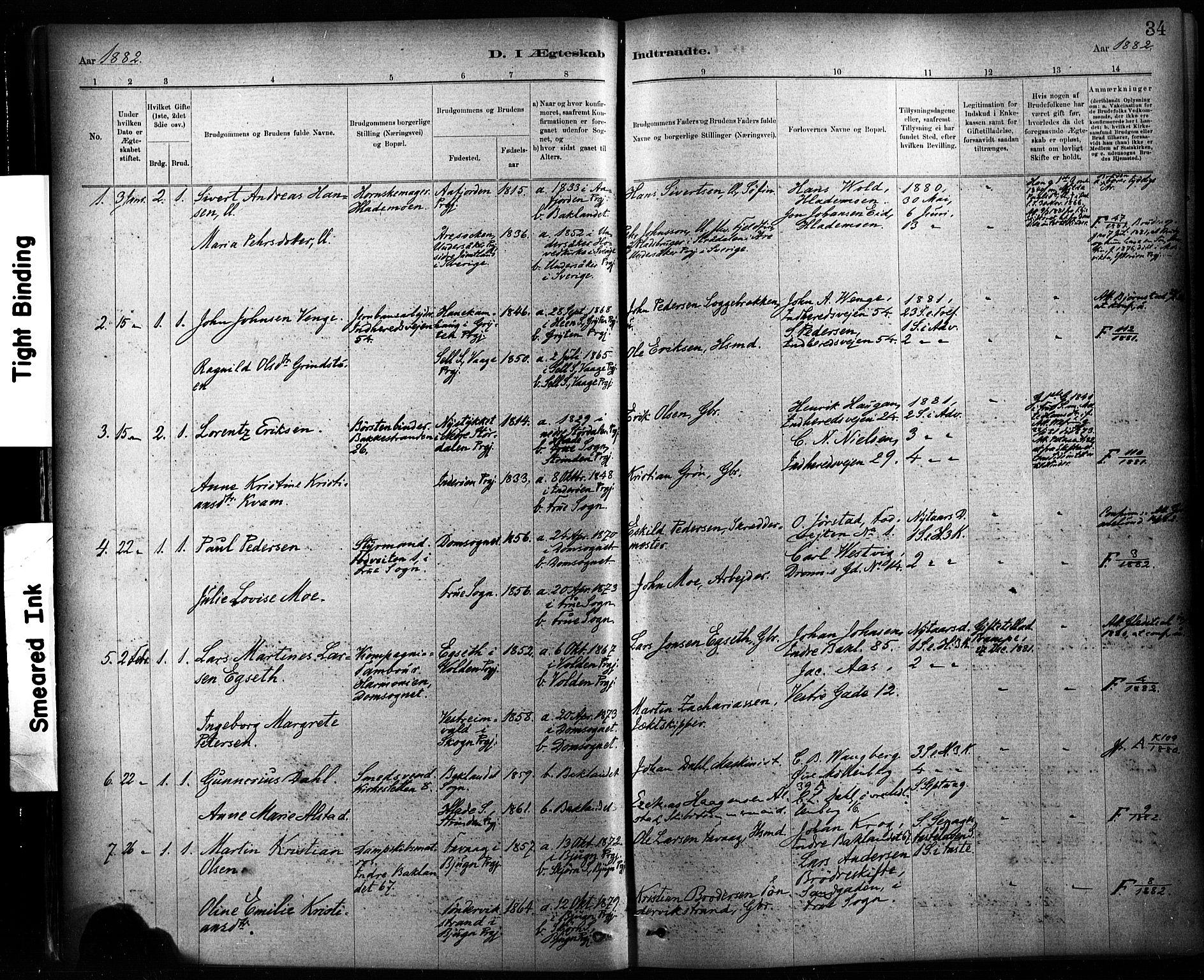 SAT, Ministerialprotokoller, klokkerbøker og fødselsregistre - Sør-Trøndelag, 604/L0189: Ministerialbok nr. 604A10, 1878-1892, s. 34