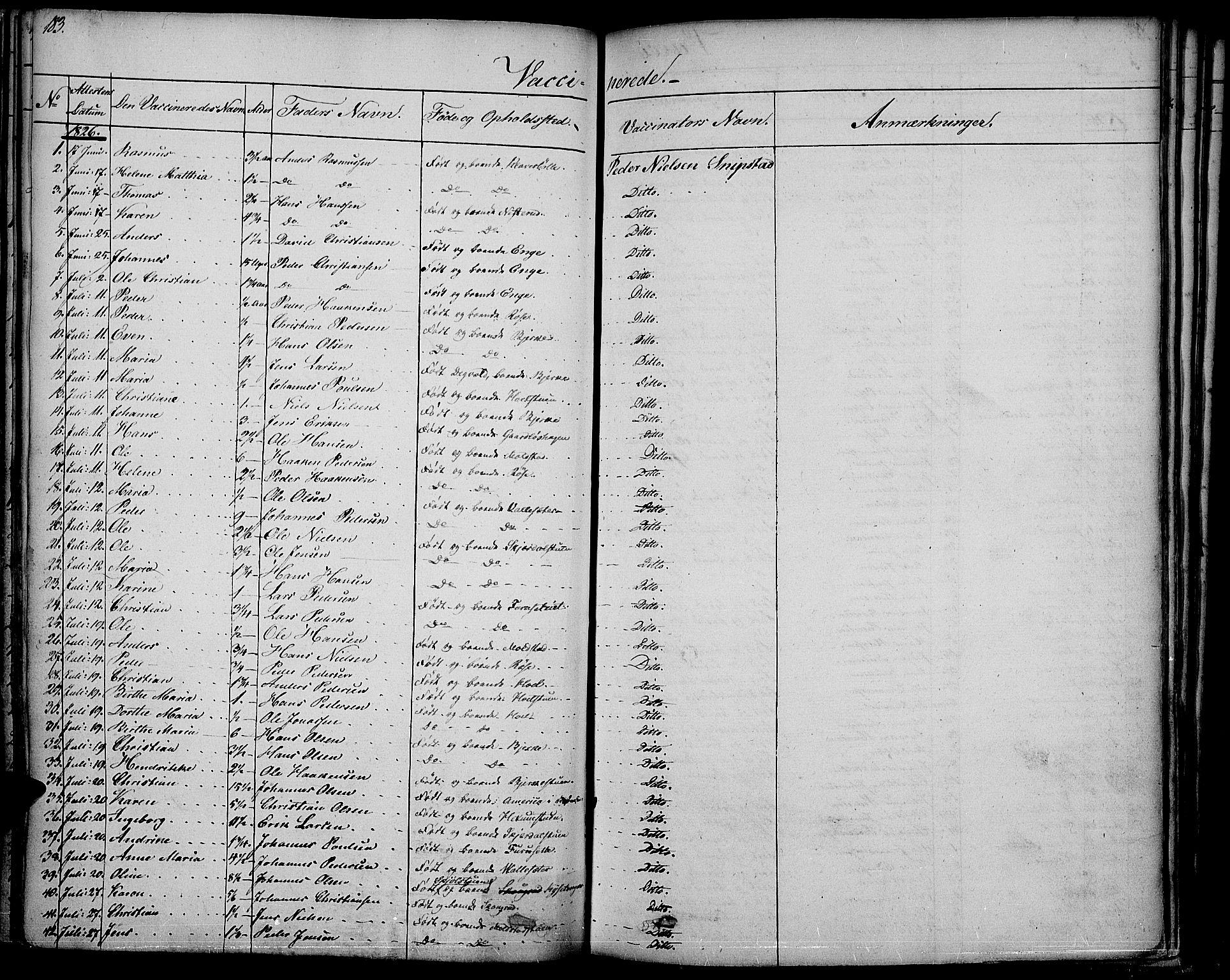SAH, Vestre Toten prestekontor, Ministerialbok nr. 2, 1825-1837, s. 183