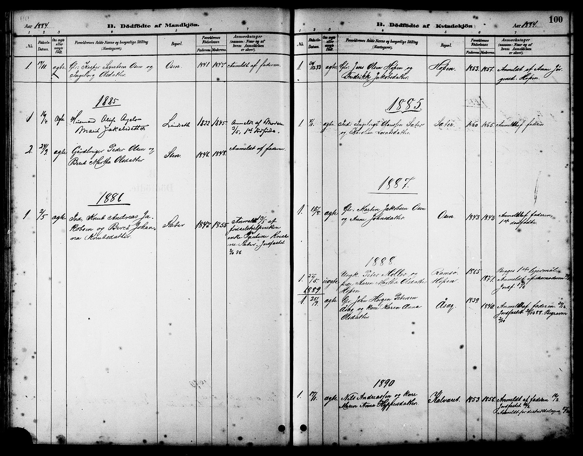 SAT, Ministerialprotokoller, klokkerbøker og fødselsregistre - Sør-Trøndelag, 658/L0726: Klokkerbok nr. 658C02, 1883-1908, s. 100