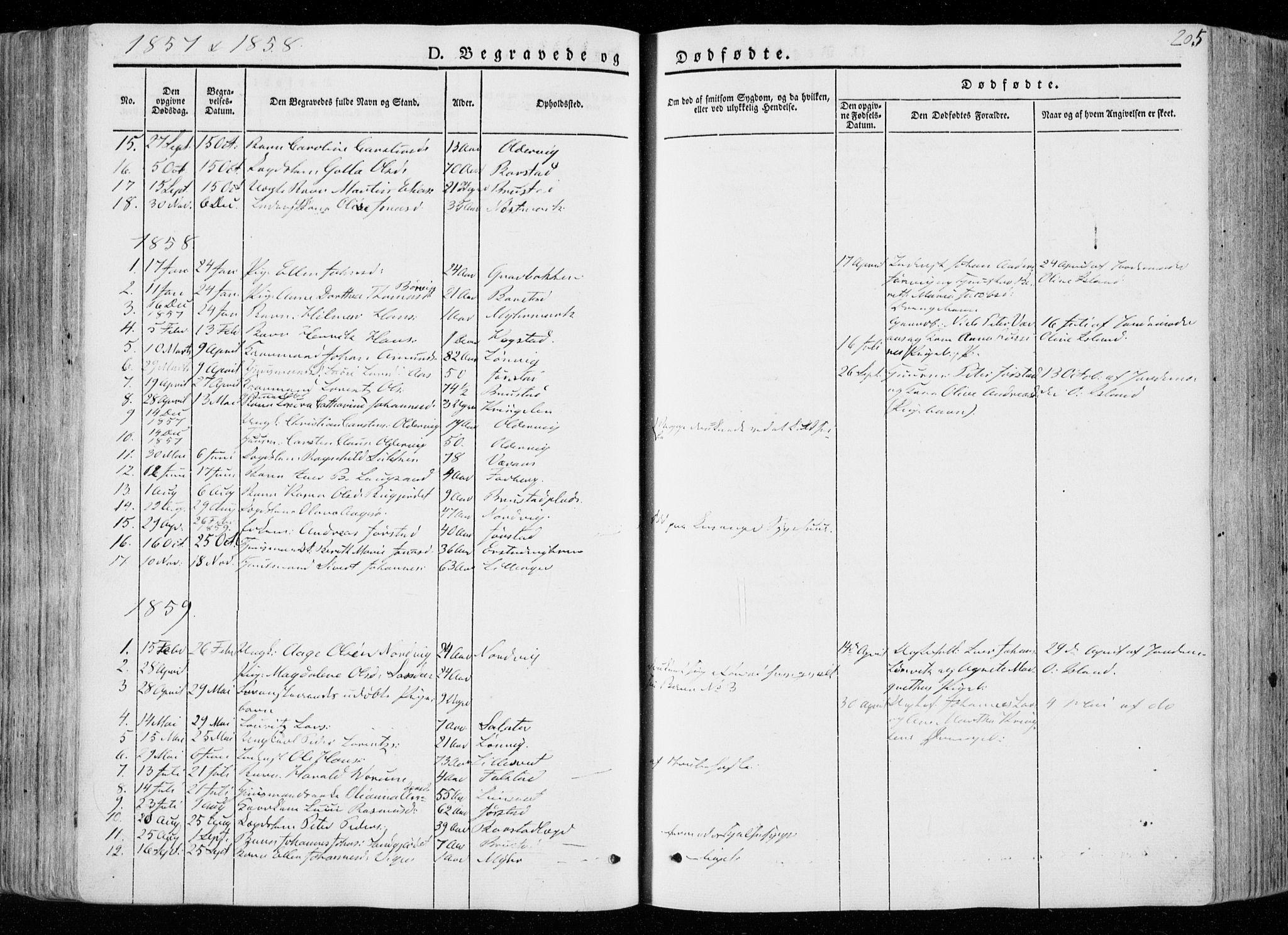 SAT, Ministerialprotokoller, klokkerbøker og fødselsregistre - Nord-Trøndelag, 722/L0218: Ministerialbok nr. 722A05, 1843-1868, s. 205