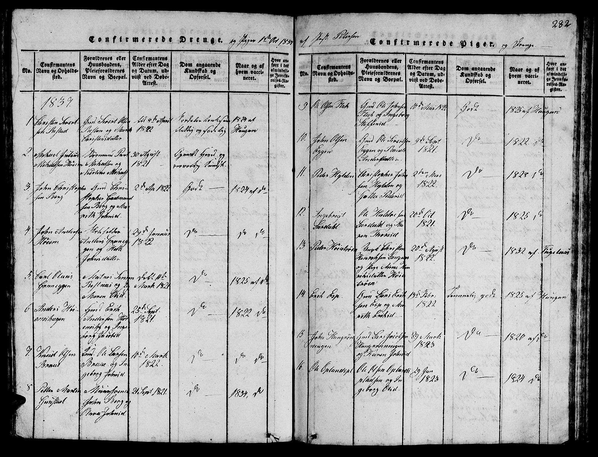 SAT, Ministerialprotokoller, klokkerbøker og fødselsregistre - Sør-Trøndelag, 612/L0385: Klokkerbok nr. 612C01, 1816-1845, s. 282
