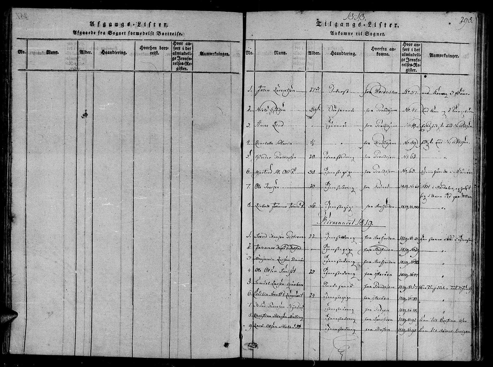 SAT, Ministerialprotokoller, klokkerbøker og fødselsregistre - Sør-Trøndelag, 657/L0702: Ministerialbok nr. 657A03, 1818-1831, s. 298