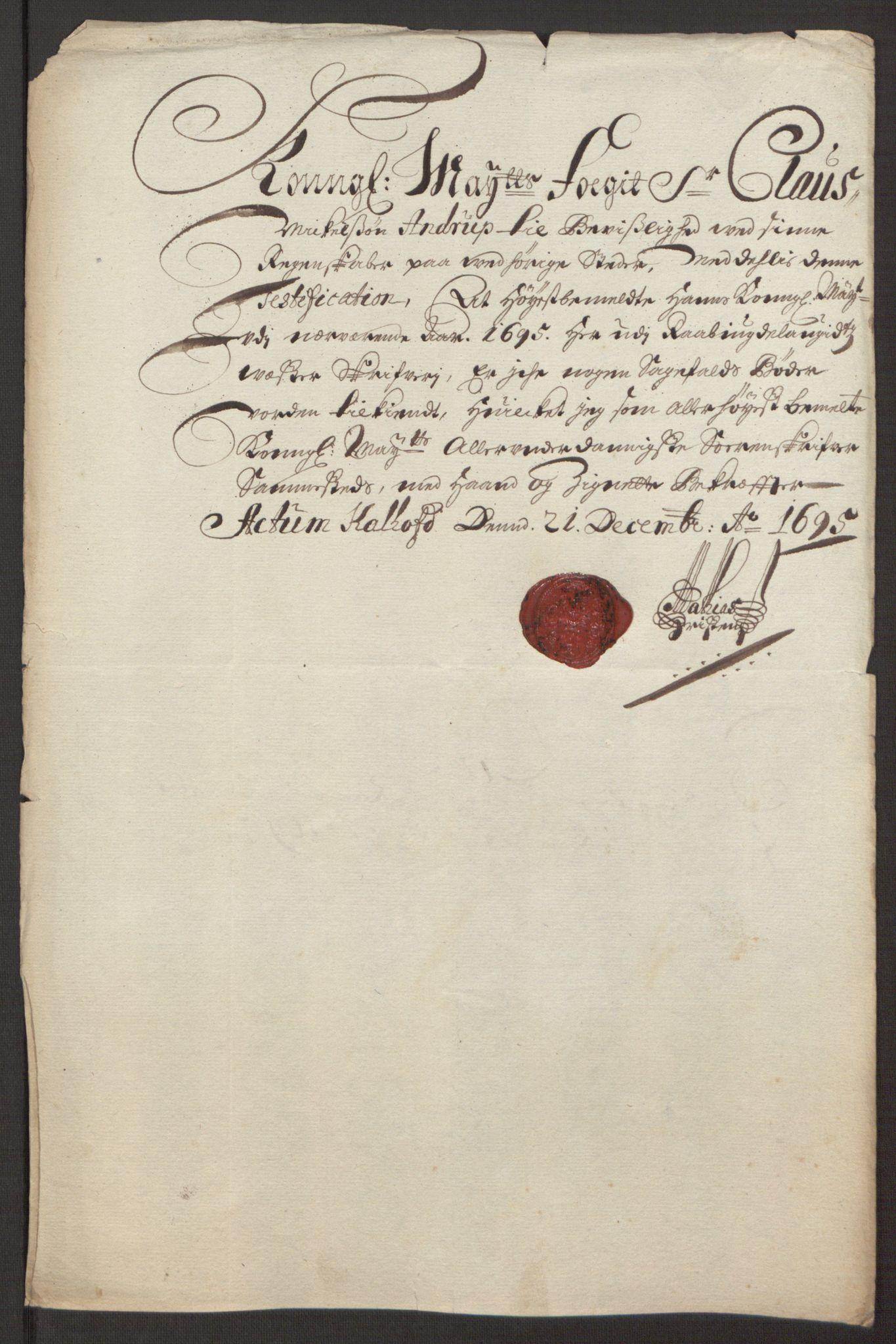 RA, Rentekammeret inntil 1814, Reviderte regnskaper, Fogderegnskap, R40/L2444: Fogderegnskap Råbyggelag, 1693-1696, s. 229