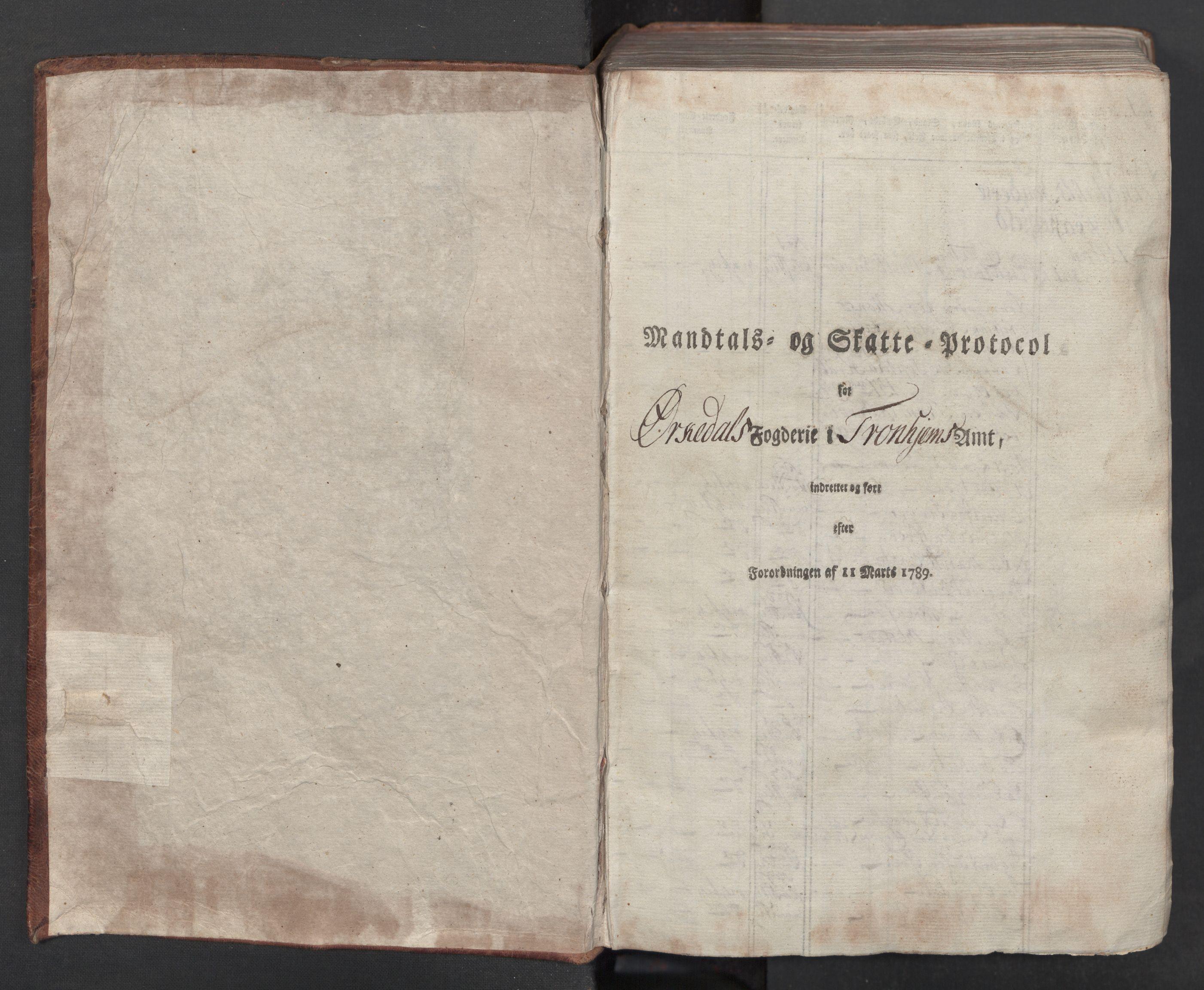 RA, Rentekammeret inntil 1814, Reviderte regnskaper, Mindre regnskaper, Rf/Rfe/L0033: Orkdal og Gauldal fogderi, 1789, s. 2