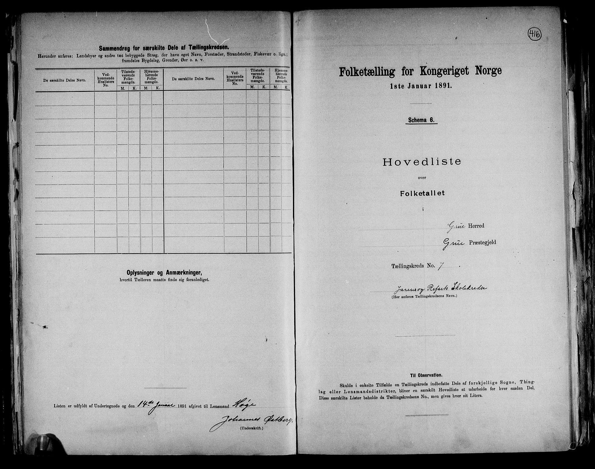 RA, Folketelling 1891 for 0423 Grue herred, 1891, s. 20