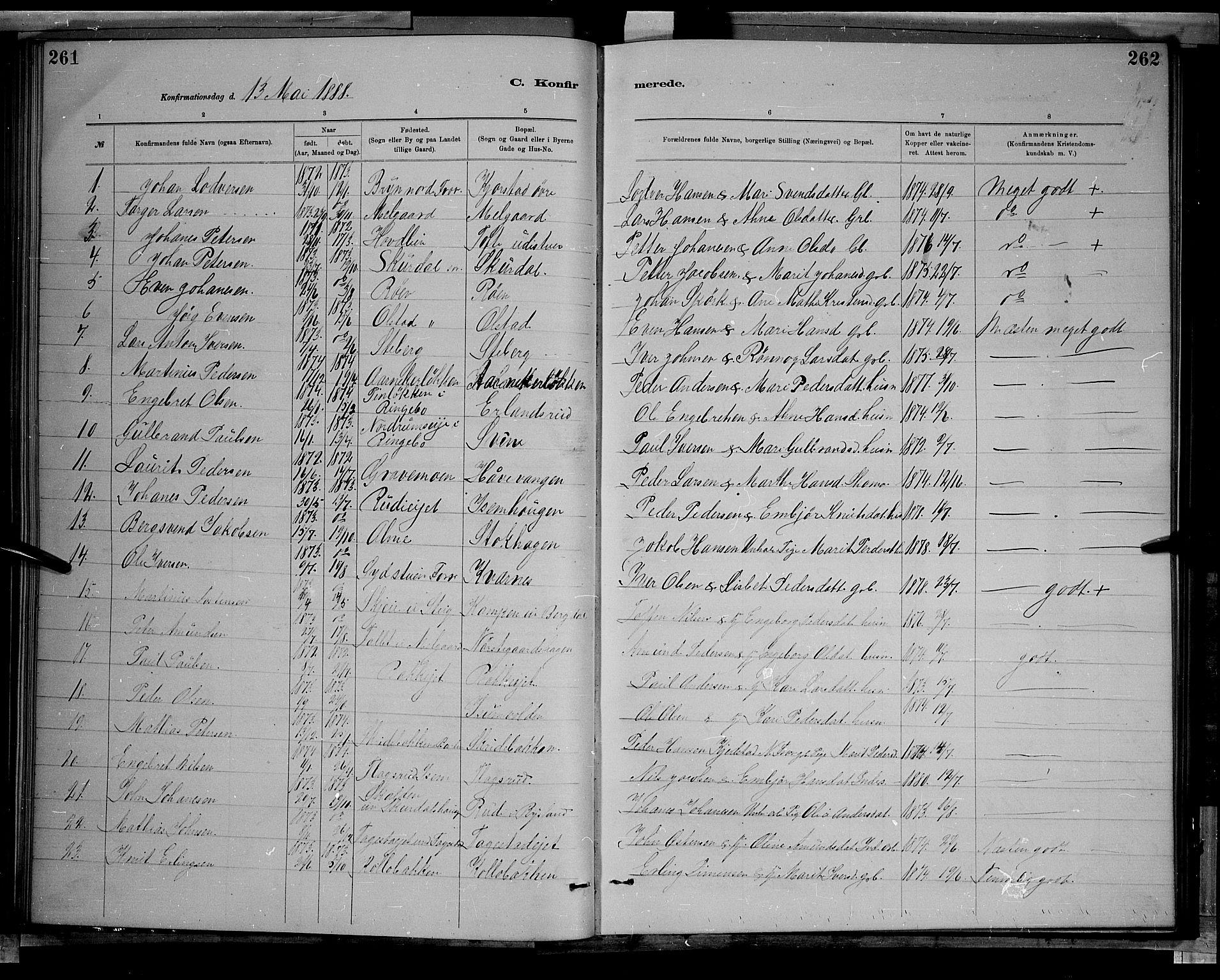 SAH, Sør-Fron prestekontor, H/Ha/Hab/L0003: Klokkerbok nr. 3, 1884-1896, s. 261-262