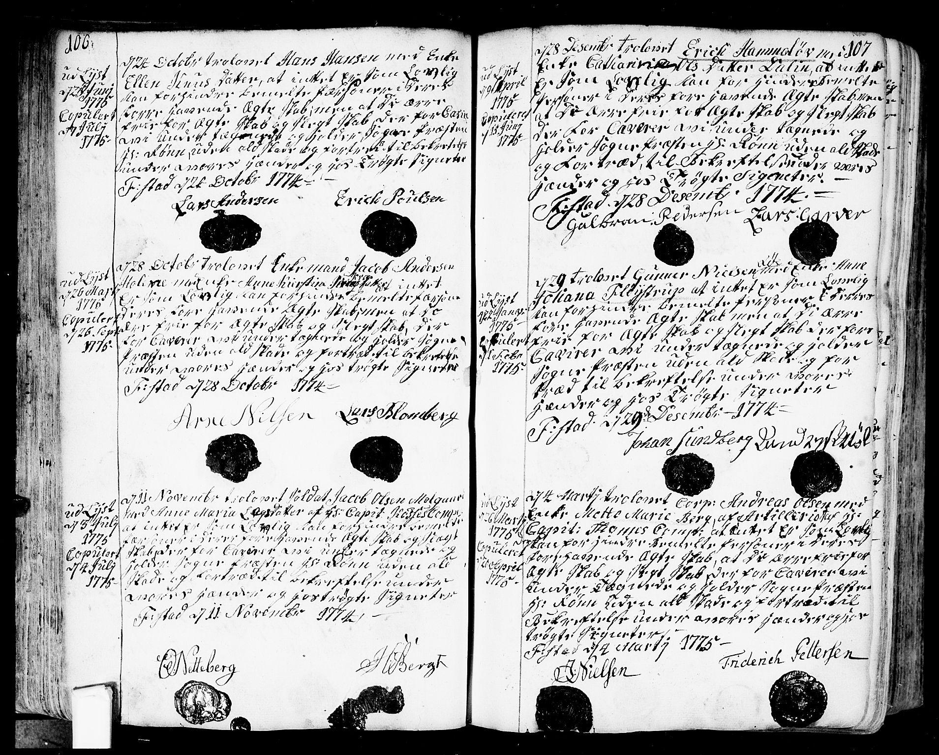 SAO, Fredrikstad prestekontor Kirkebøker, F/Fa/L0002: Ministerialbok nr. 2, 1750-1804, s. 106-107