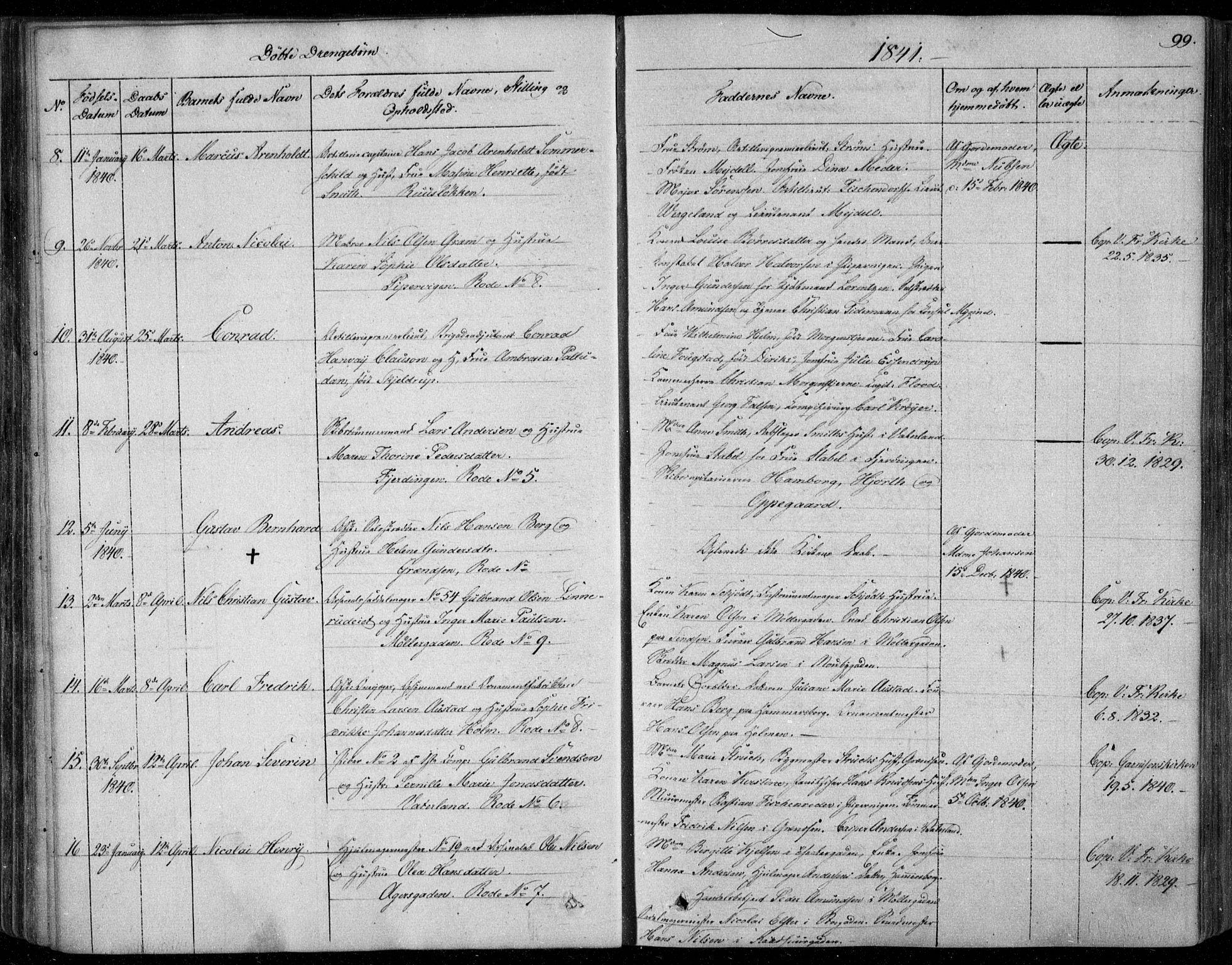 SAO, Garnisonsmenigheten Kirkebøker, F/Fa/L0006: Ministerialbok nr. 6, 1828-1841, s. 99