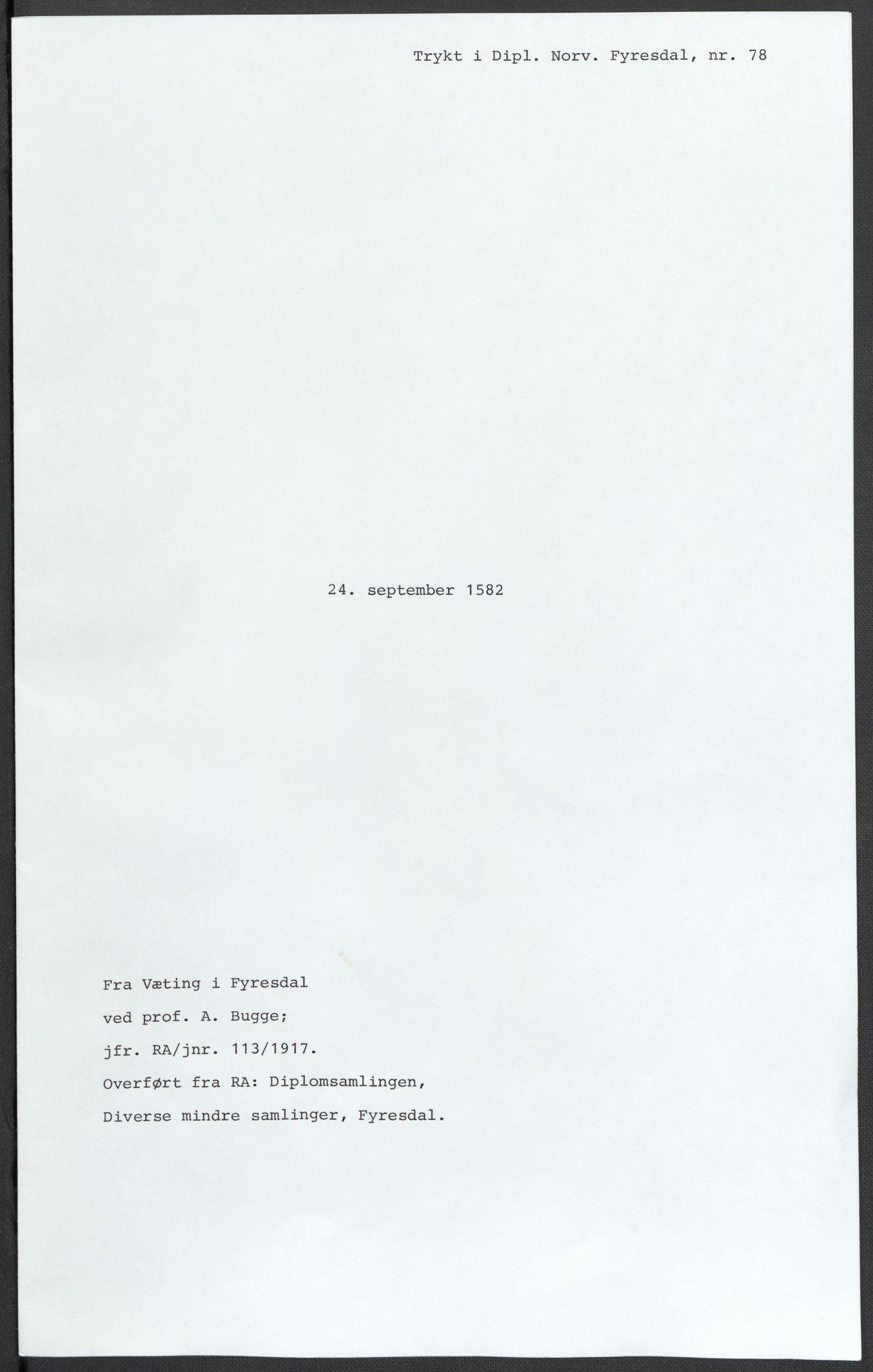 RA, Riksarkivets diplomsamling, F02/L0084: Dokumenter, 1582, s. 43